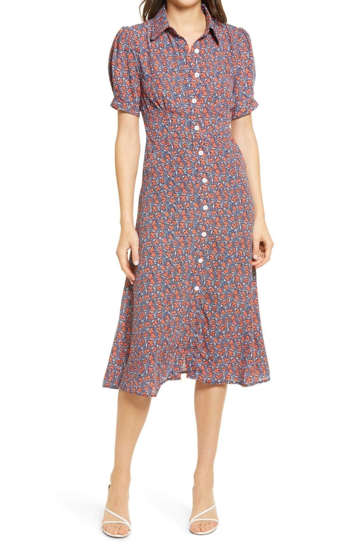 EN SAISON Floral Print Button Front Midi Dress