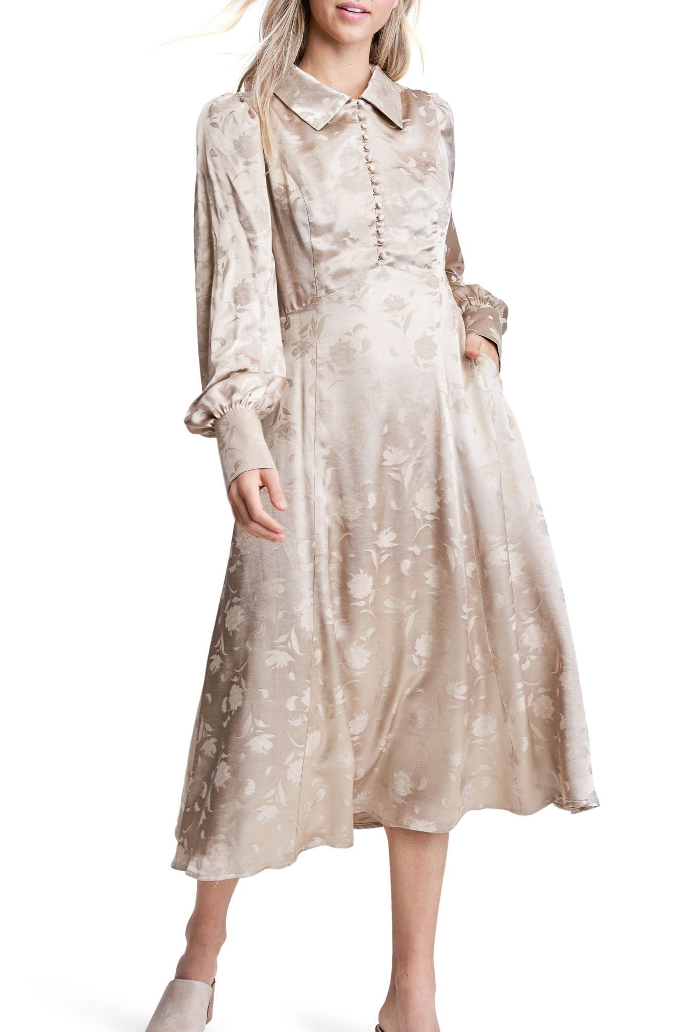 EN SAISON Long Sleeve Floral Jacquard Shirt Dress