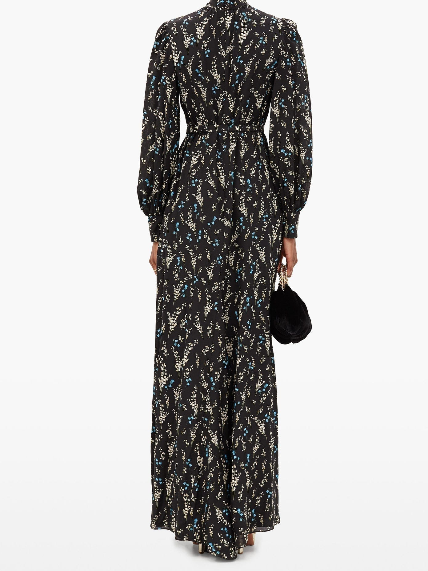 ERDEM Aura Willow Ditsy-print Belted Silk Gown