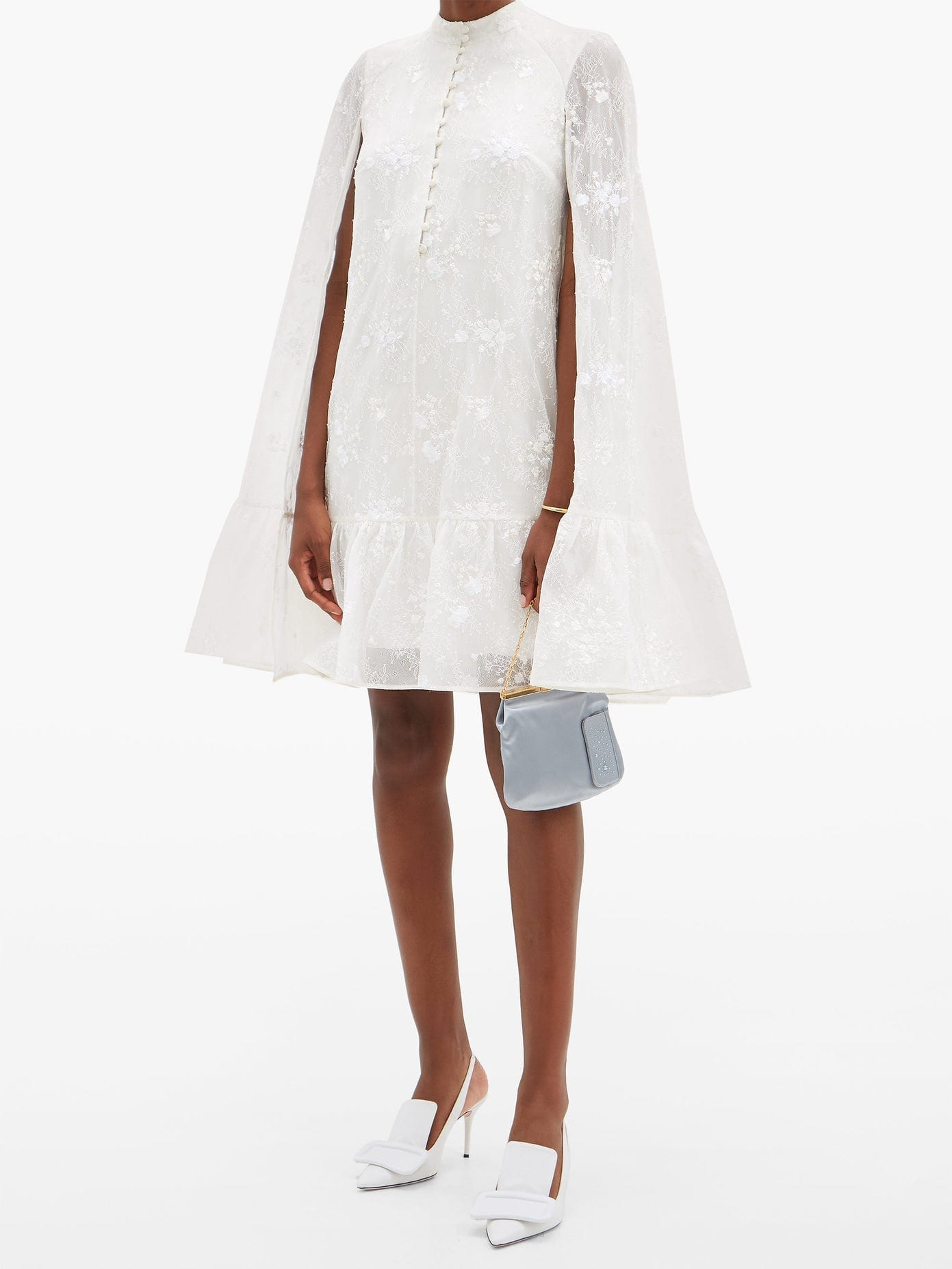ERDEM Constantine Embroidered-cape Mini Dress