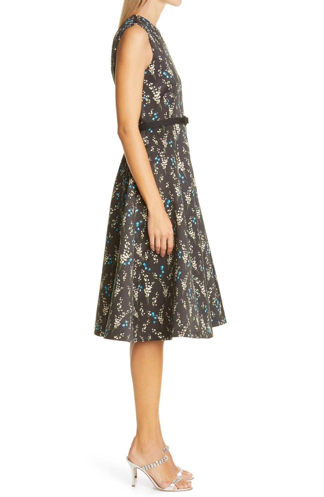 ERDEM Floral Print Belted A-Line Satin Dress