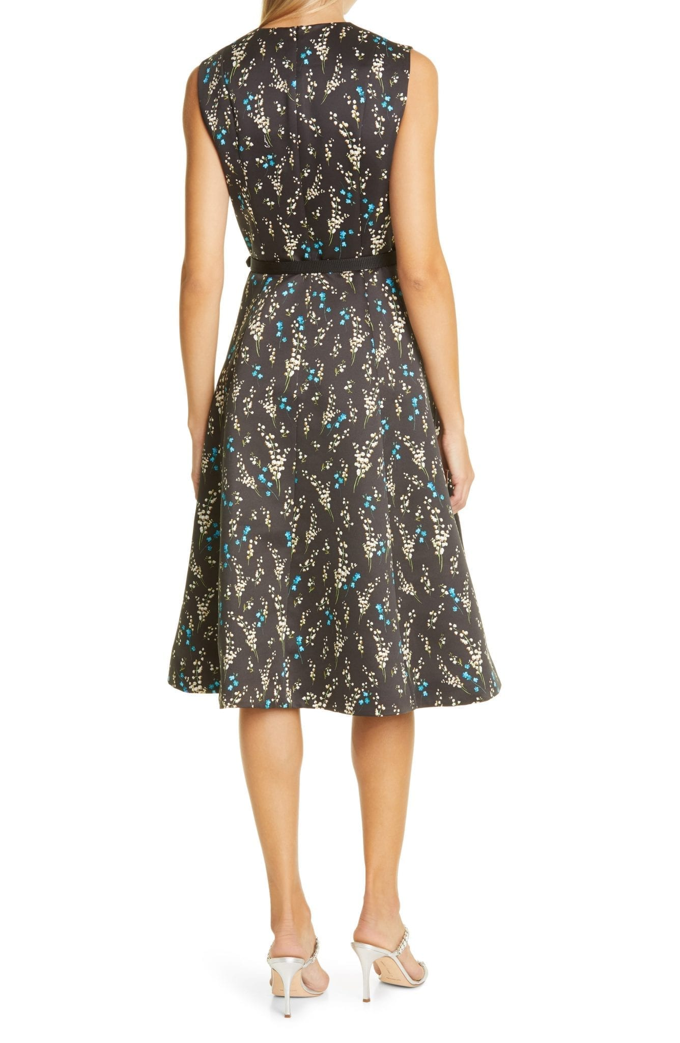ERDEM Floral Print Belted A-Line Satin Dress