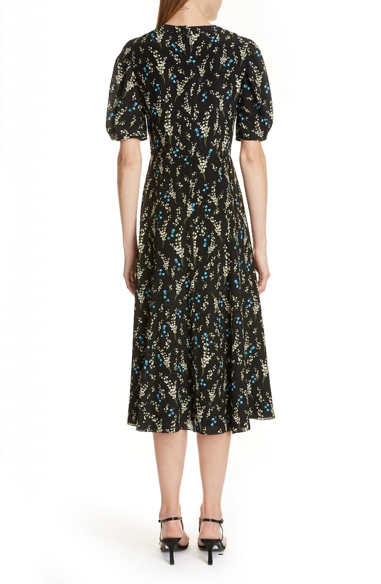 ERDEM Floral Print Silk Midi Dress