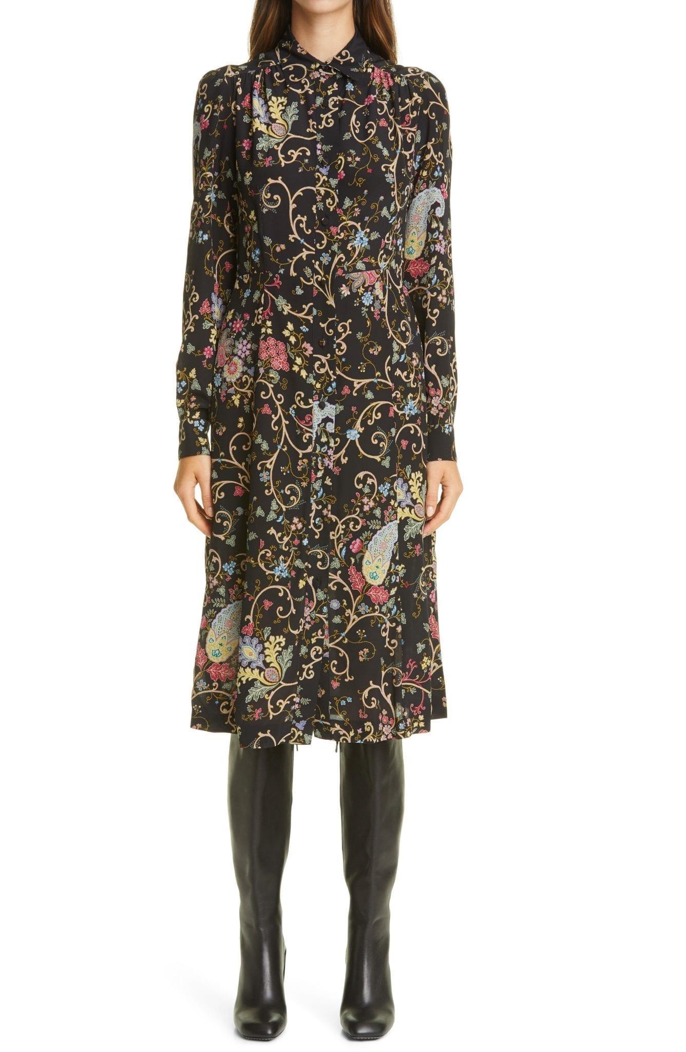 ETRO Floral Paisley Long Sleeve Silk Shirt Dress