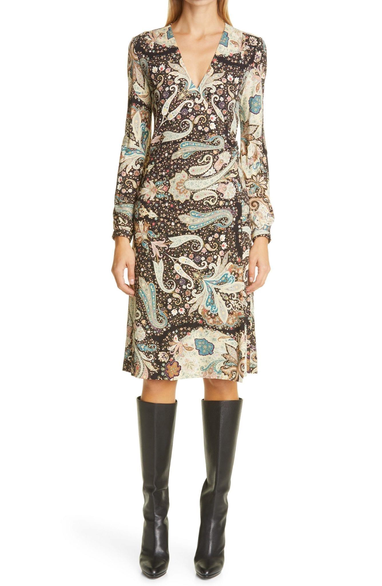 ETRO Long Sleeve Jersey Wrap Dress