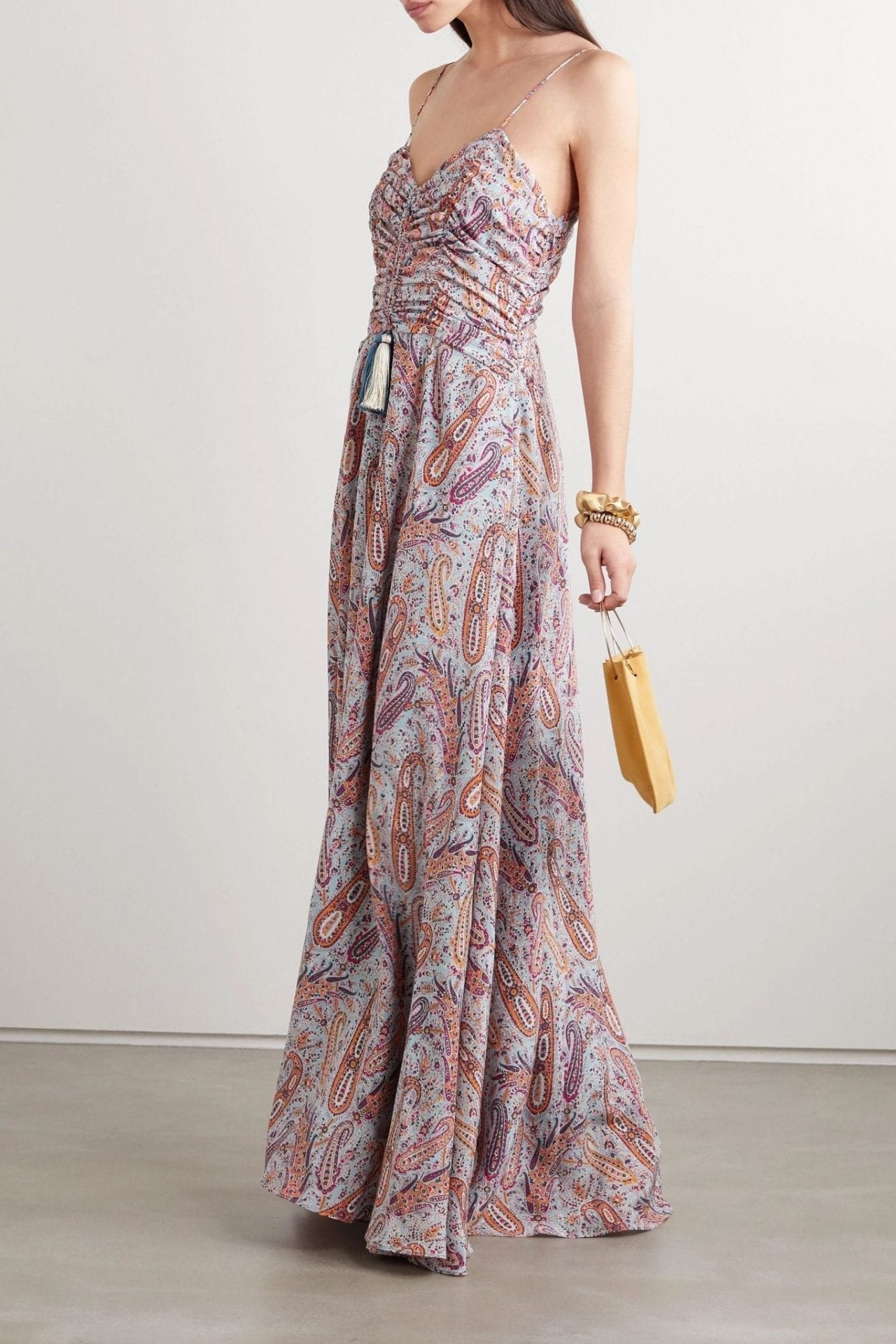ETRO Tasseled Paisley-print Silk Crepe De Chine Maxi Dress