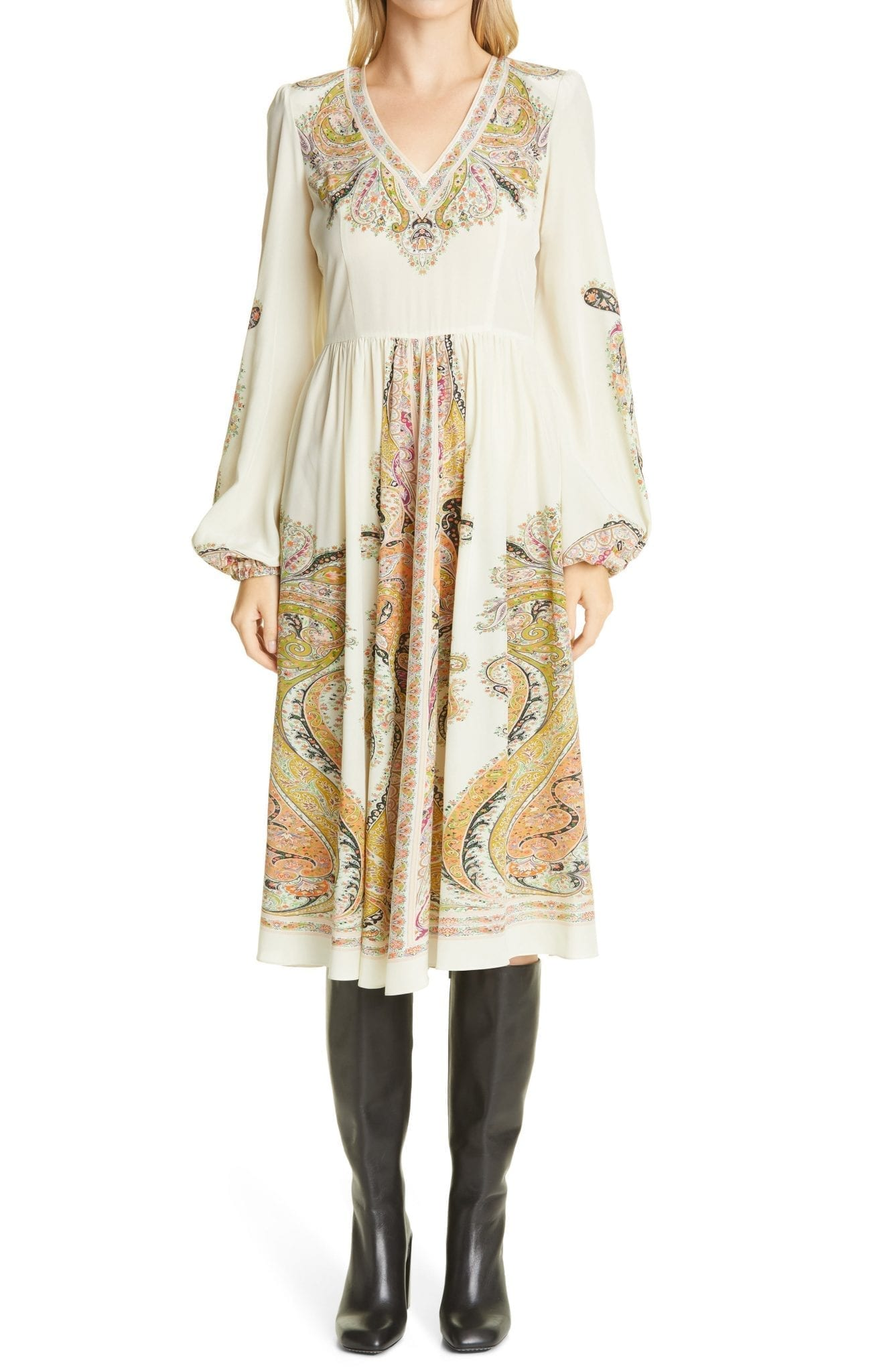 ETRO V-Neck Long Sleeve Silk Midi Dress