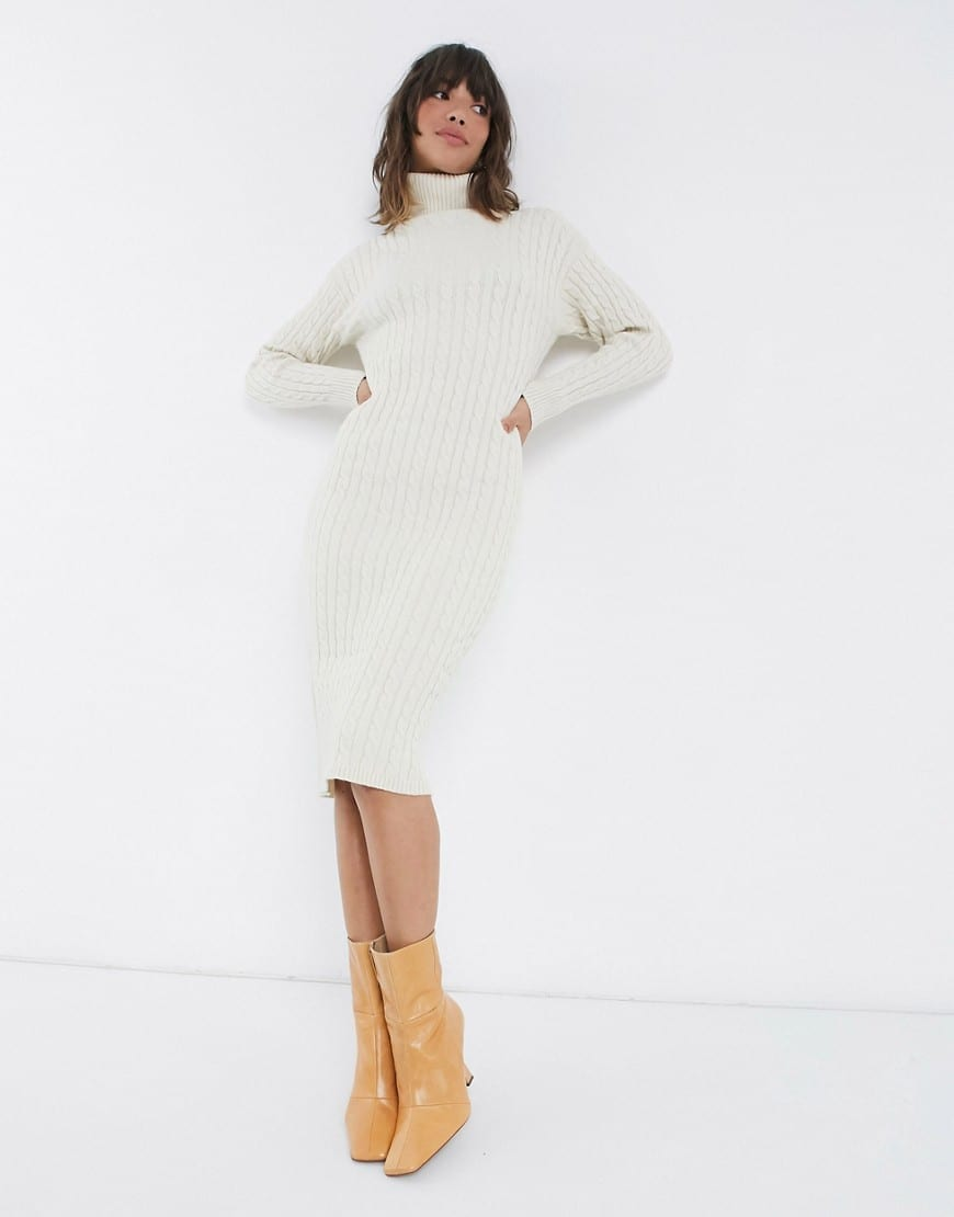 FASHION UNION High Neck In Cable Knit Midi Sweater Dress