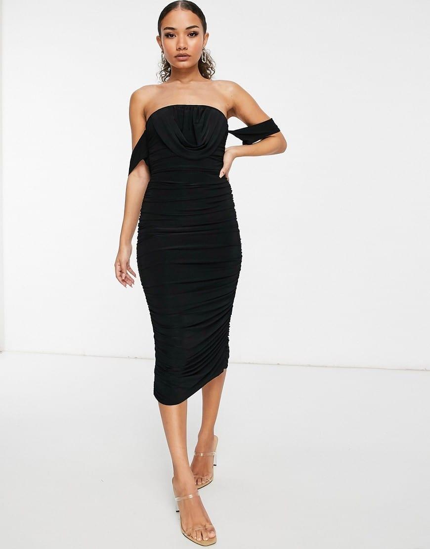 FEMME LUXE Drape Detail Body-conscious Dress