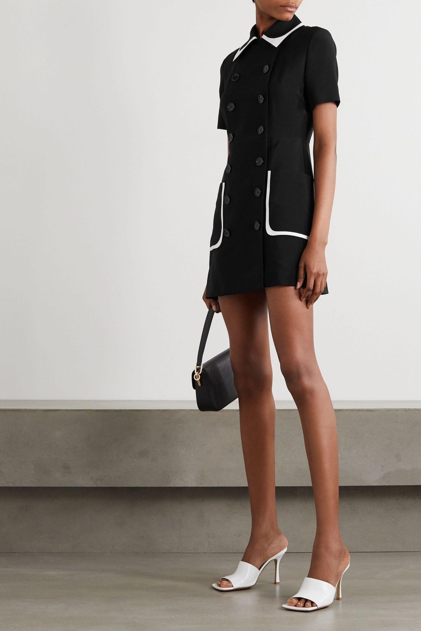 FENDI Double-breasted Two-tone Crepe Mini Dress