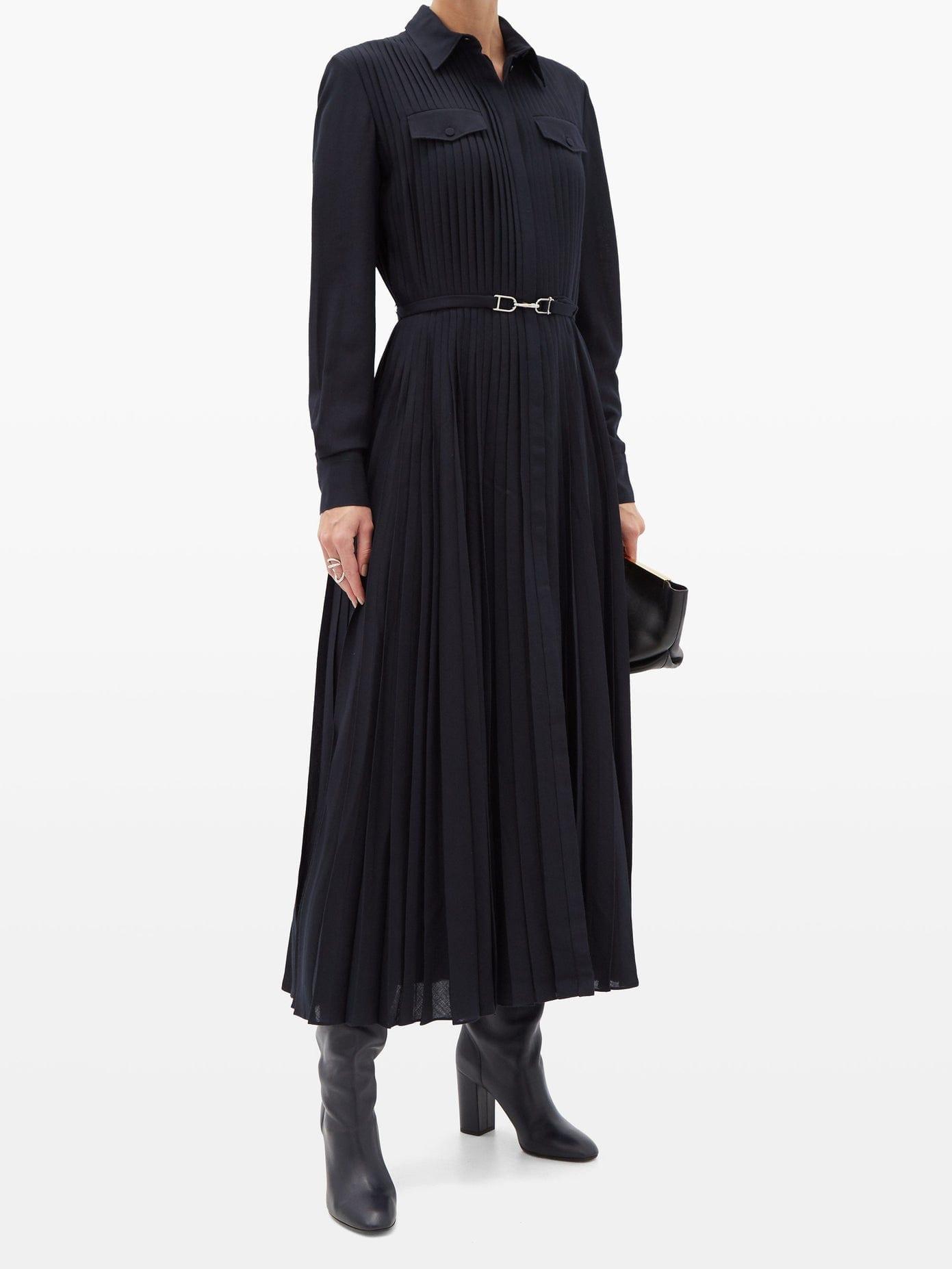GABRIELA HEARST Erella Pleated Wool-blend Shirt Dress