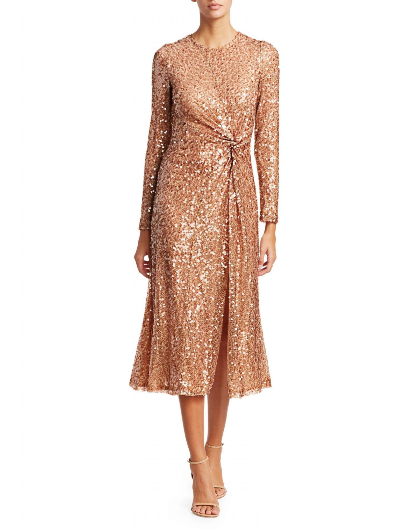 GALVAN Pinwheel Sequin Twist-Front Dress