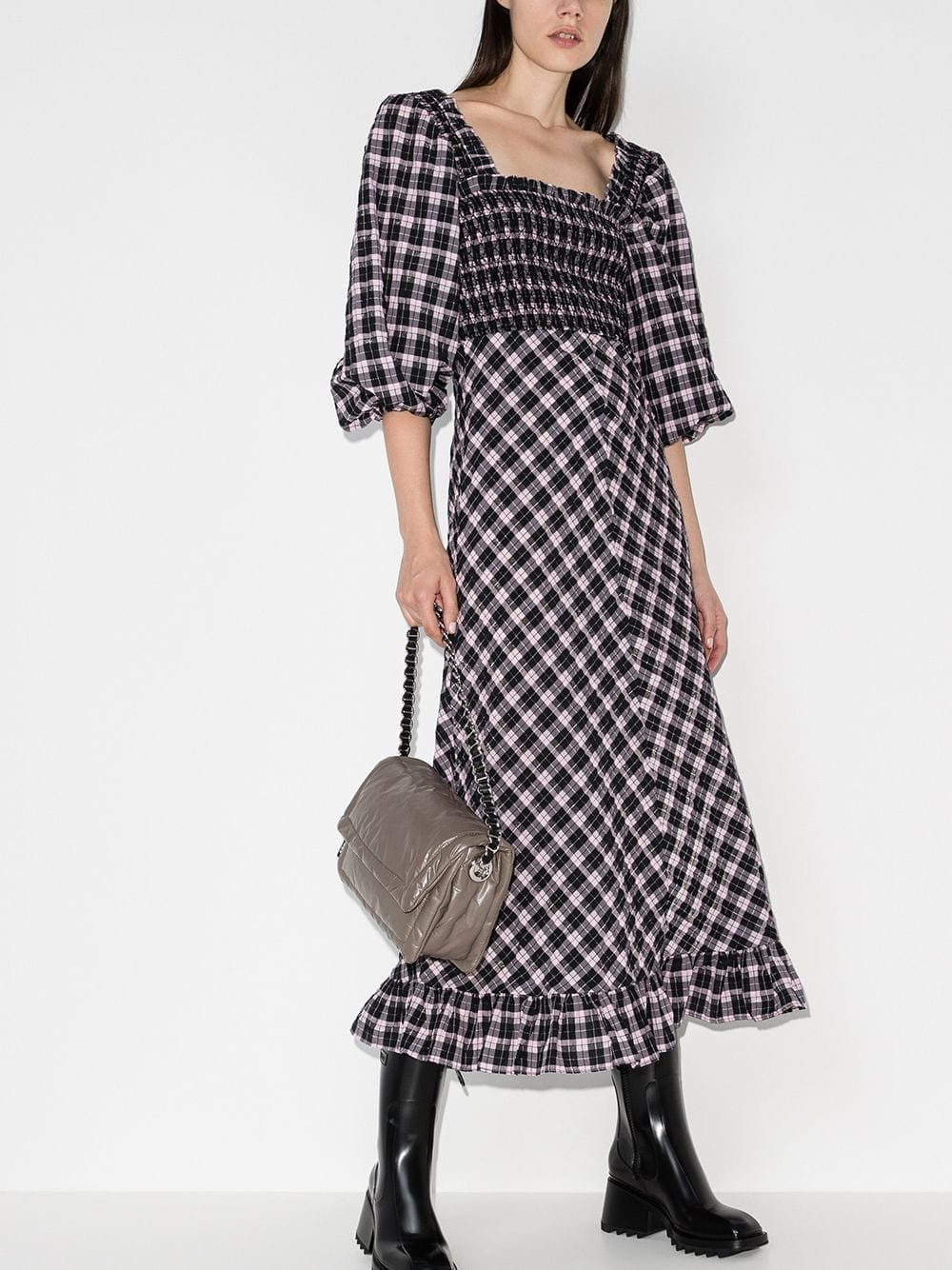 GANNI Checked Midi Dress