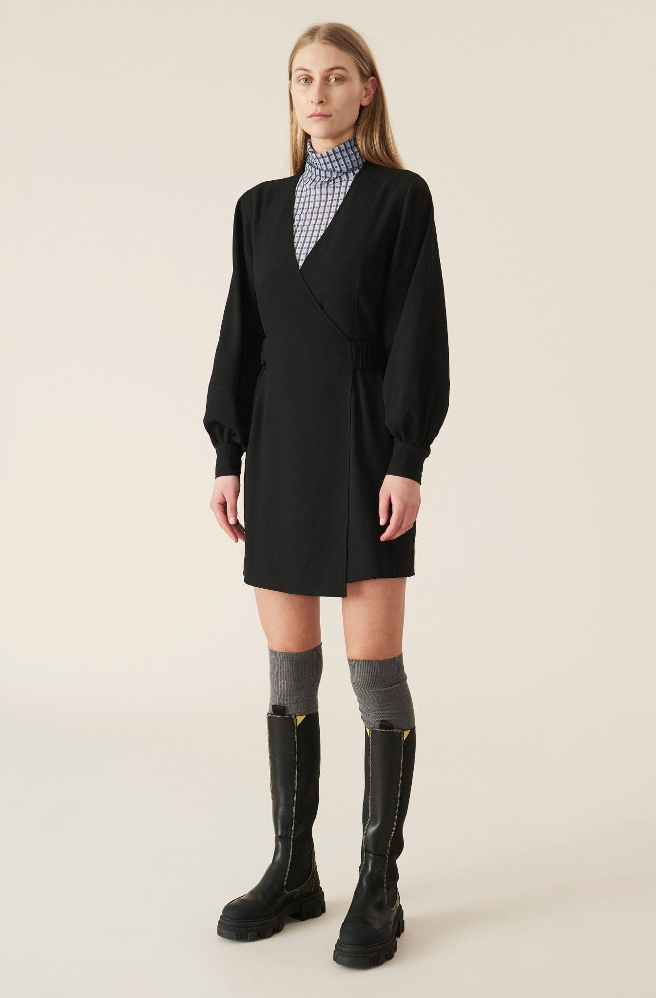 GANNI Heavy Crepe Mini Dress