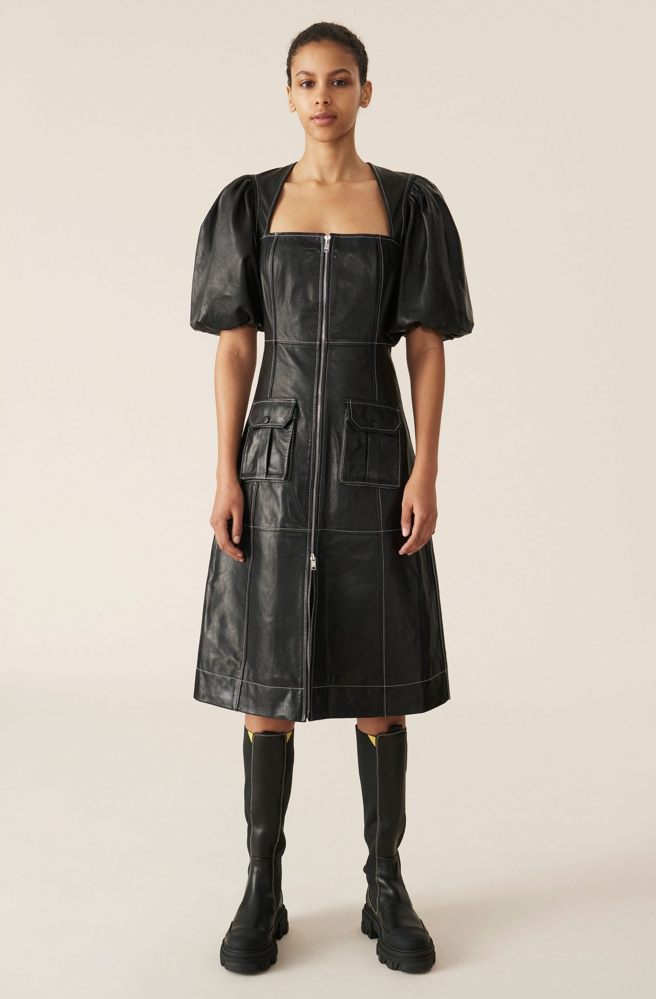 GANNI Lamb Leather Zipper Dress