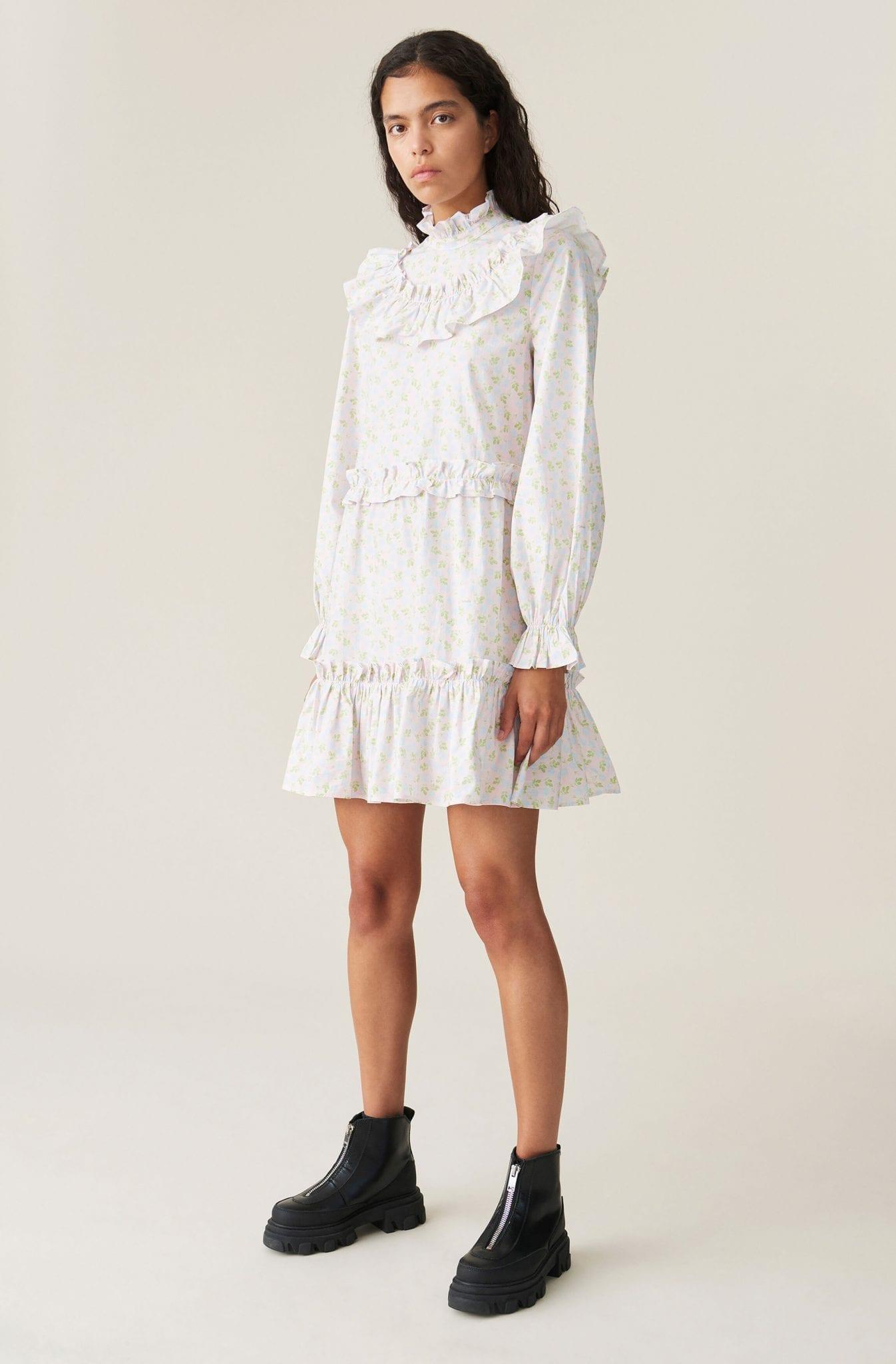 GANNI Printed Cotton Poplin Frill Mini Dress