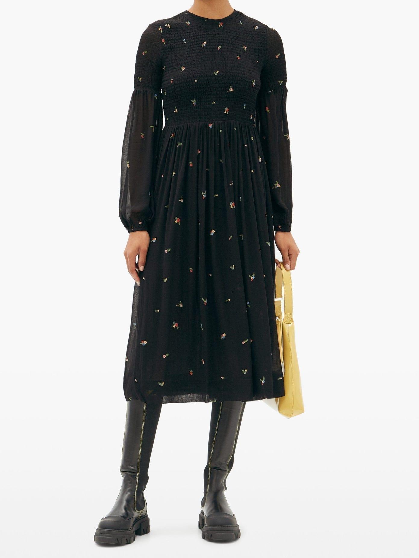 GANNI Smocked Floral-print Georgette Midi Dress