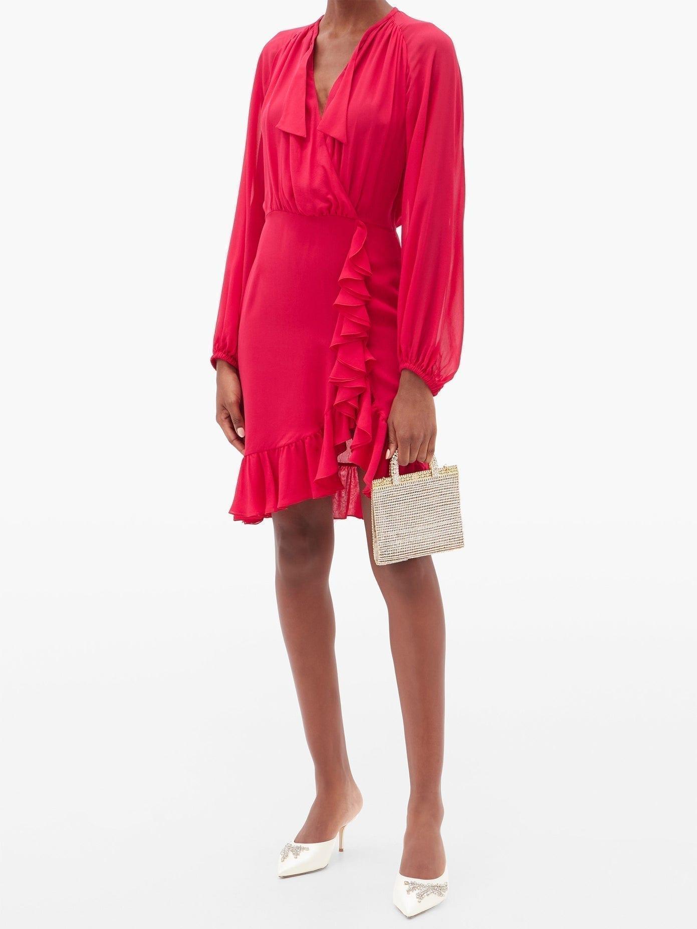 GIAMBATTISTA VALLI Pussy-bow Ruffled Silk-crepe Mini Dress