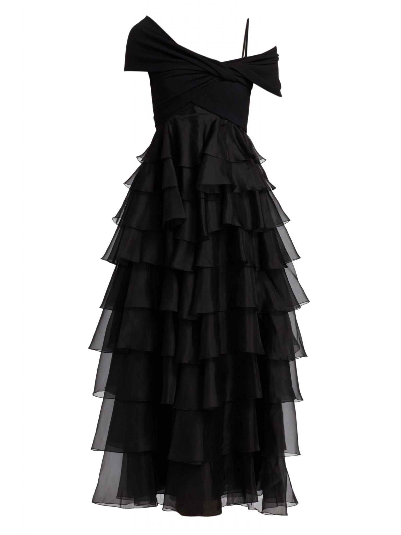 GIAMBATTISTA VALLI Wrapped Off-The-Shoulder Ruffle Tiered Gown