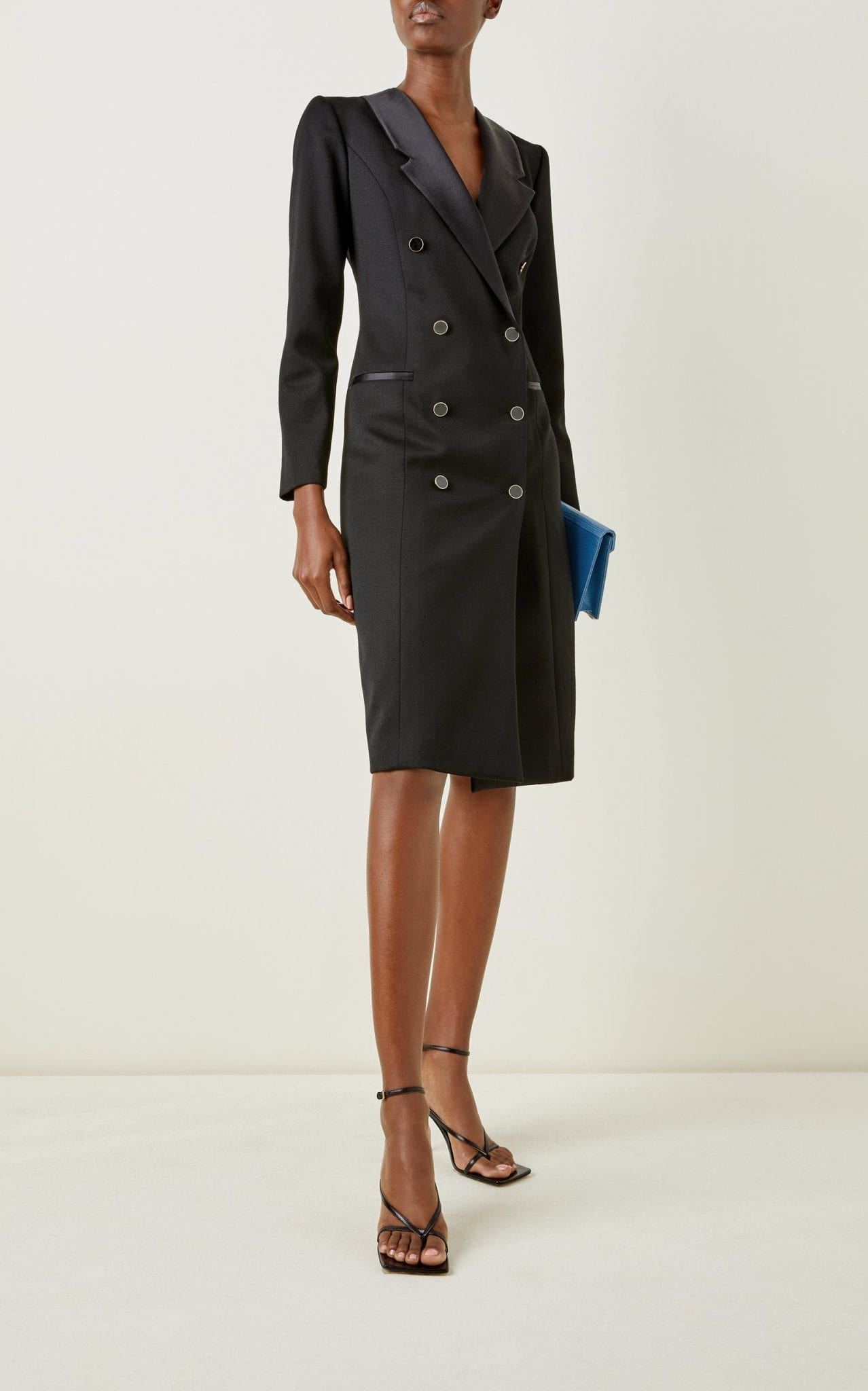 GIULIVA HERITAGE The Clotilde Satin-Trimmed Wool Double-Breasted Blazer Dress