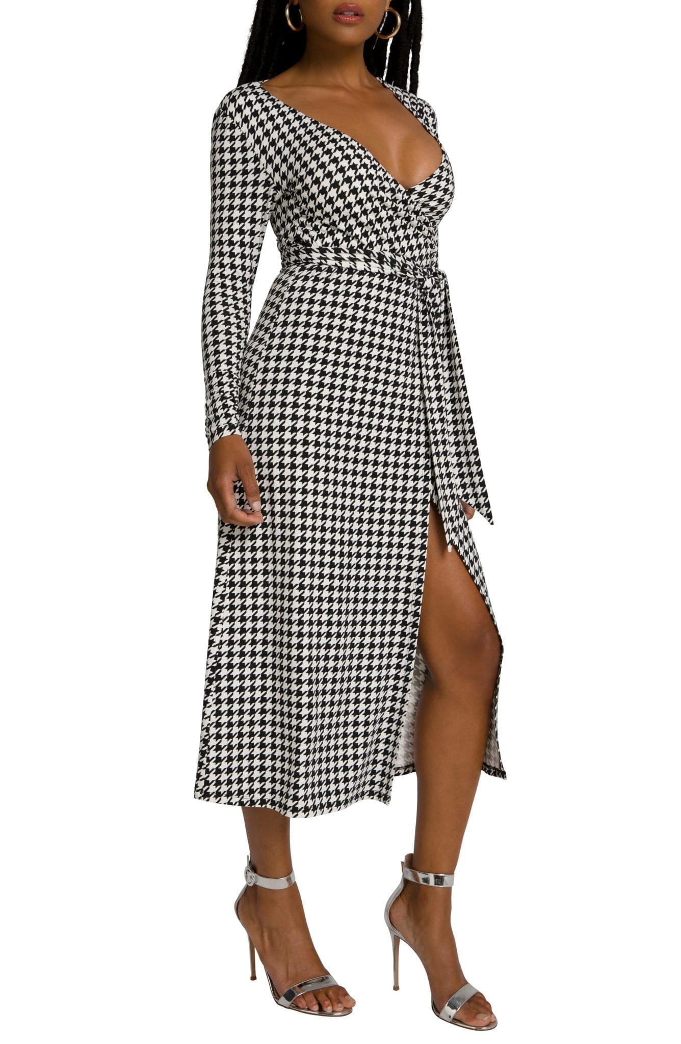 GOOD AMERICAN Daynight Long Sleeve Midi Wrap Dress