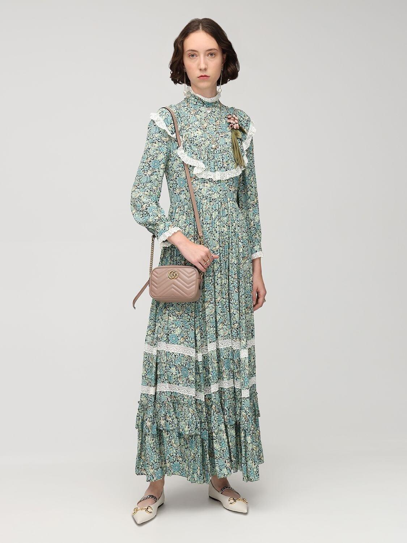 GUCCI Liberty Crepe High Neck Midi Dress