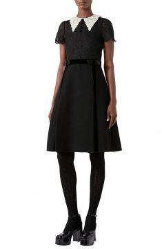 GUCCI Short Sleeve Lace & Wool Crepe Dress