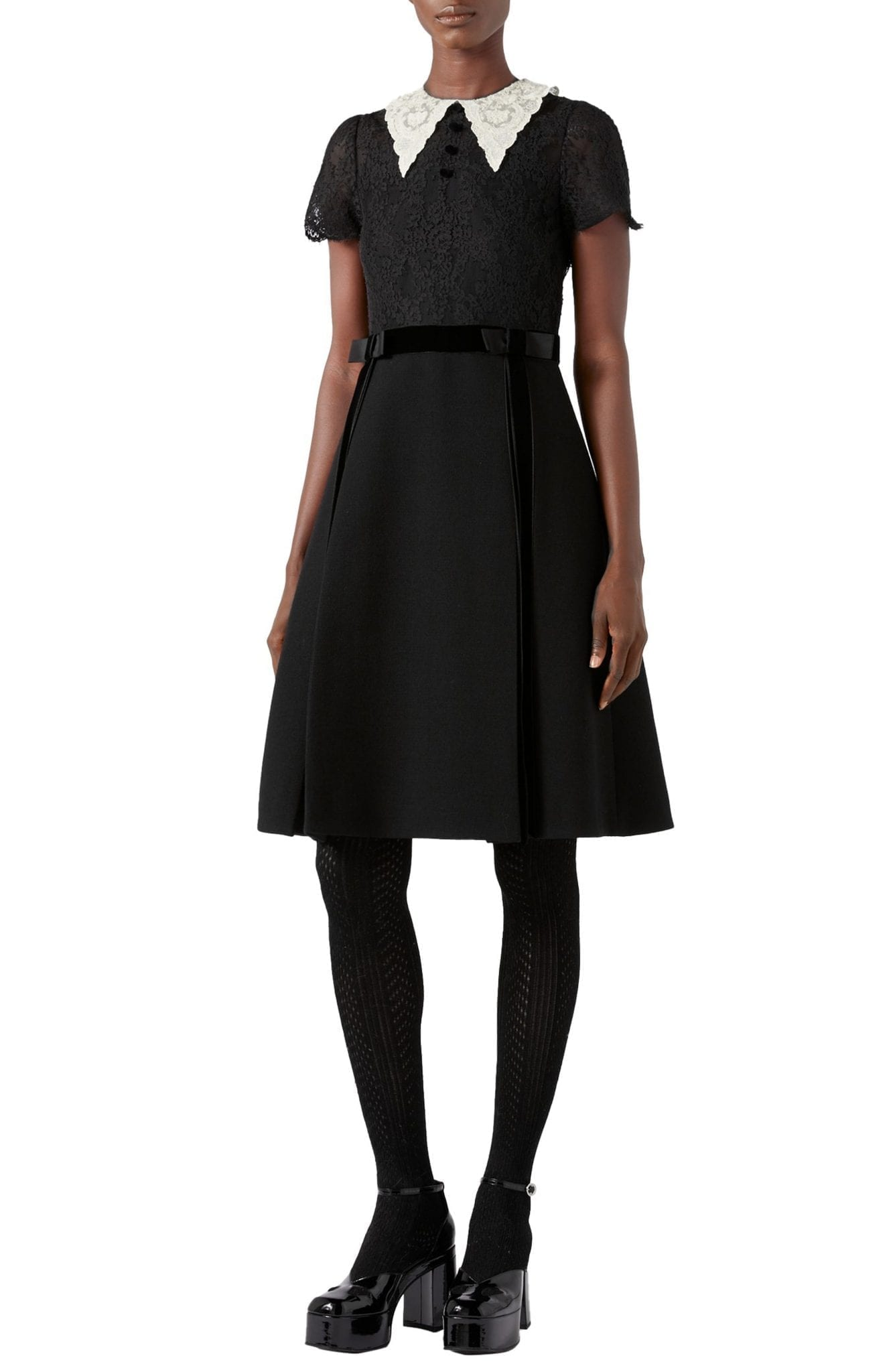 GUCCI Short Sleeve Lace & Wool Crepe Dress