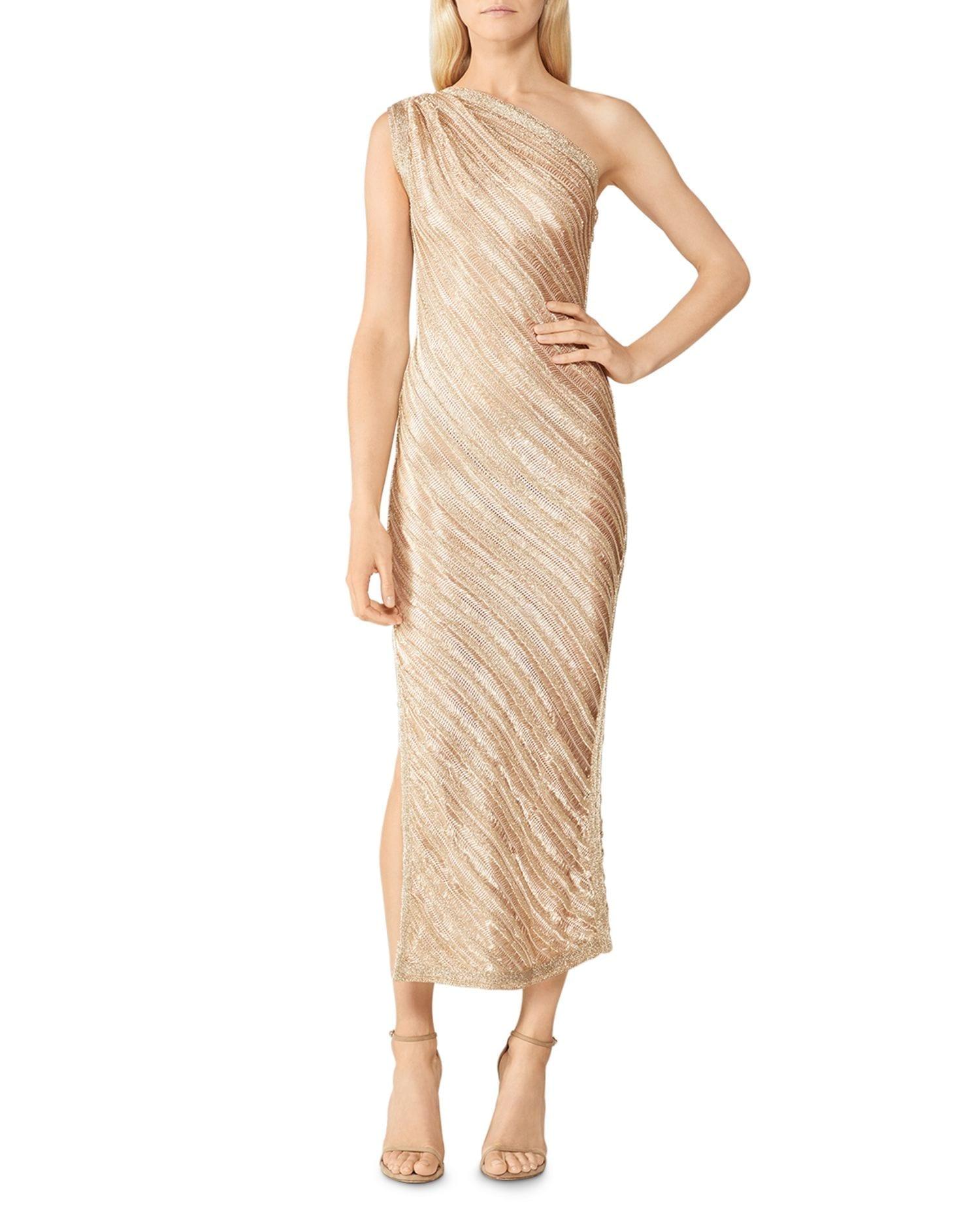 HERVÉ LÉGER One Shoulder Metallic Gown
