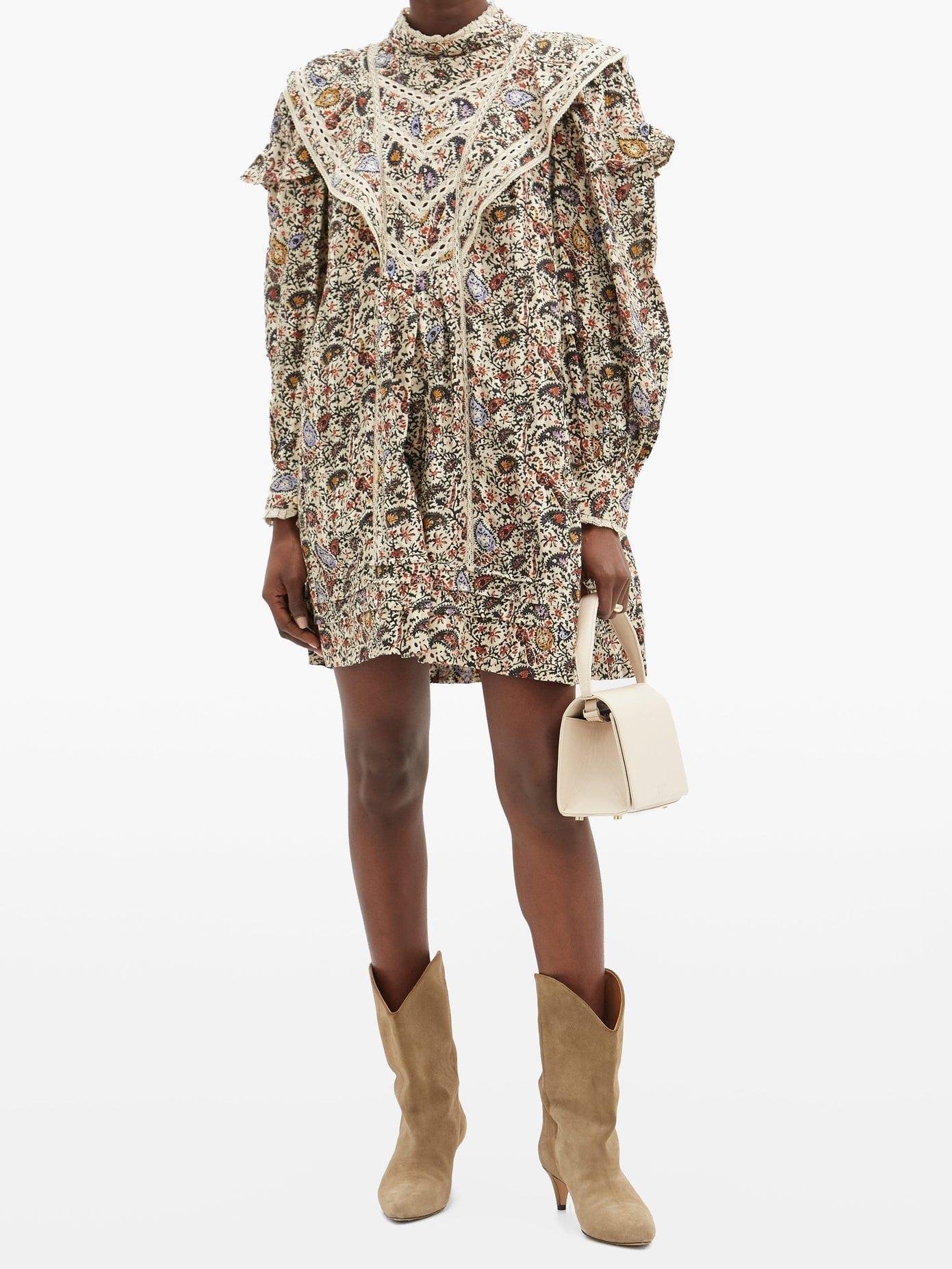 ISABEL MARANT ÉTOILE Rebel Lace-trimmed Paisley-print Cotton Mini Dress
