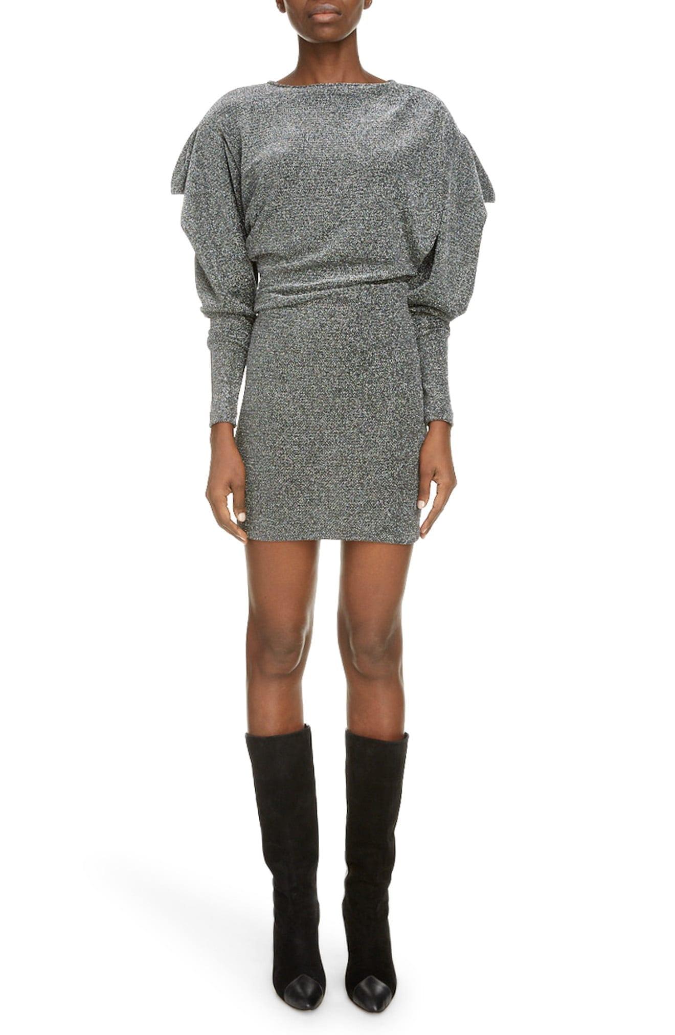 ISABEL MARANT Leg Of Mutton Long Sleeve Metallic Mini Dress