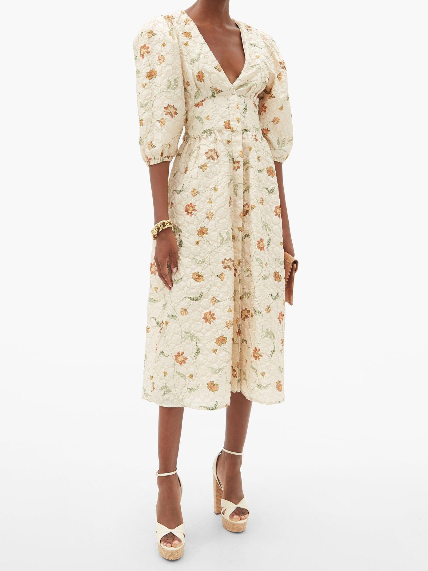 JOHANNA ORTIZ A Taste Of Wonder Silk-blend Matelassé Midi Dress