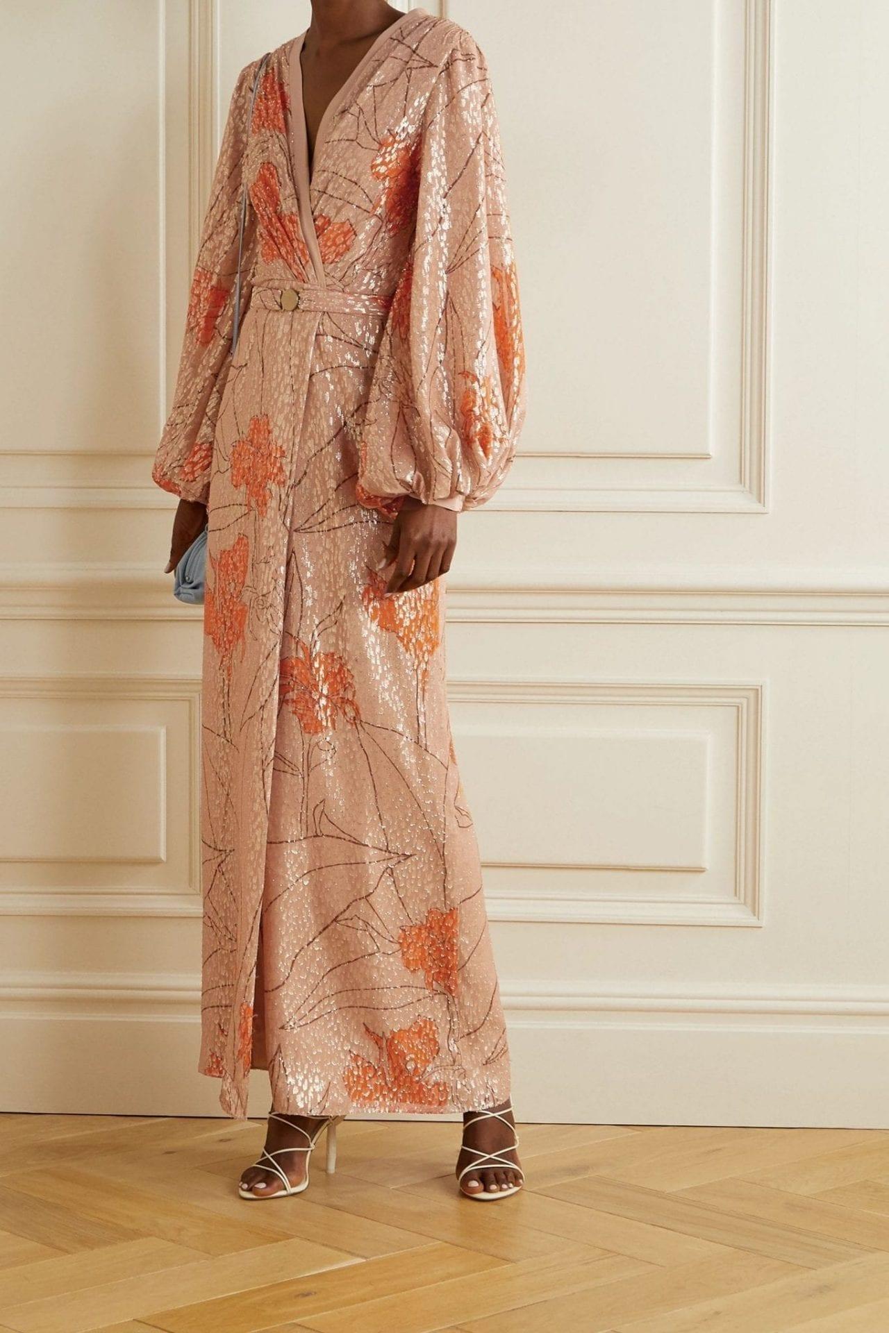 JOHANNA ORTIZ Bella Illusion Belted Printed Fil Coupé Silk-blend Maxi Dress