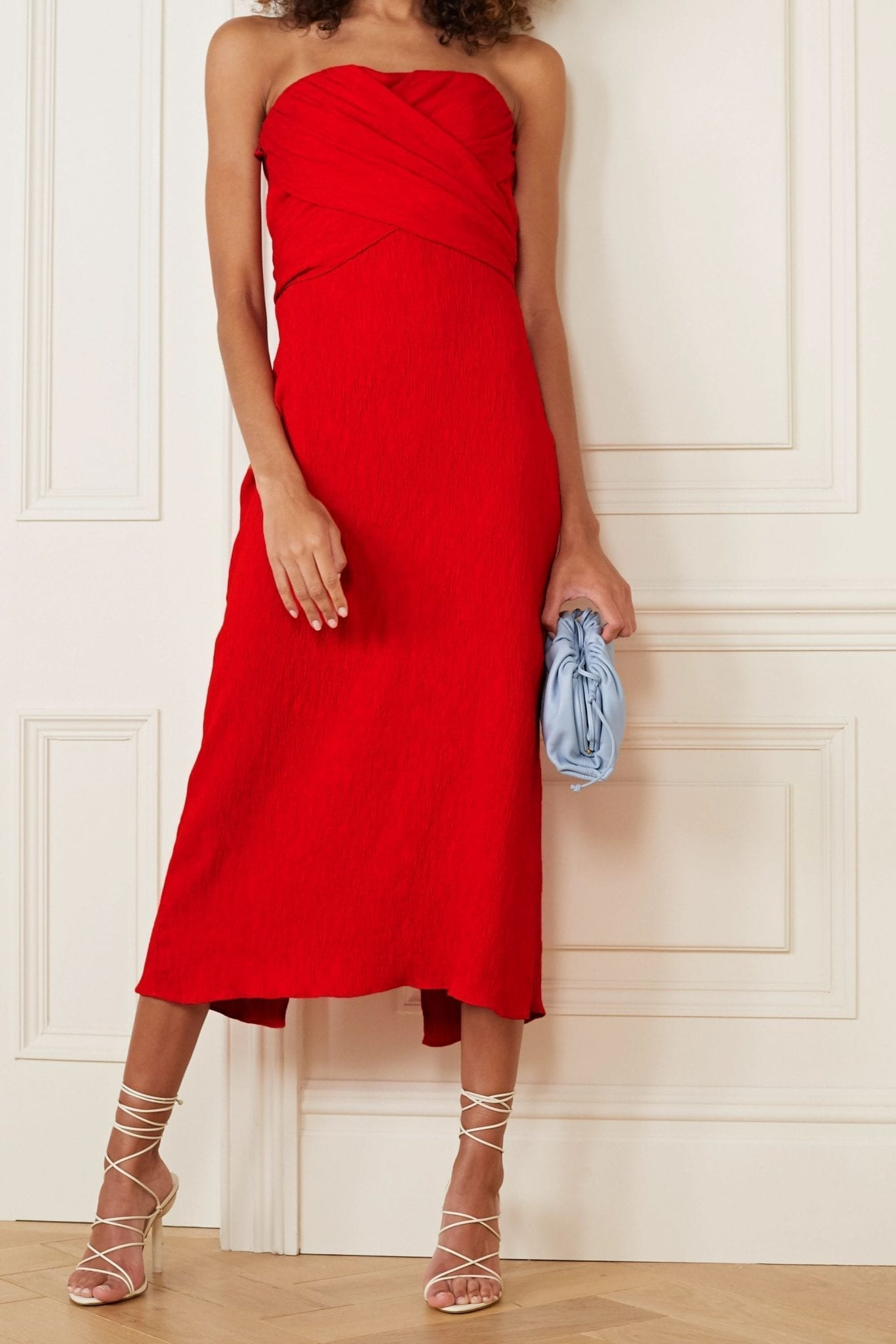 JOHANNA ORTIZ Fine Love Off-the-shoulder Crinkled-crepe Midi Dress