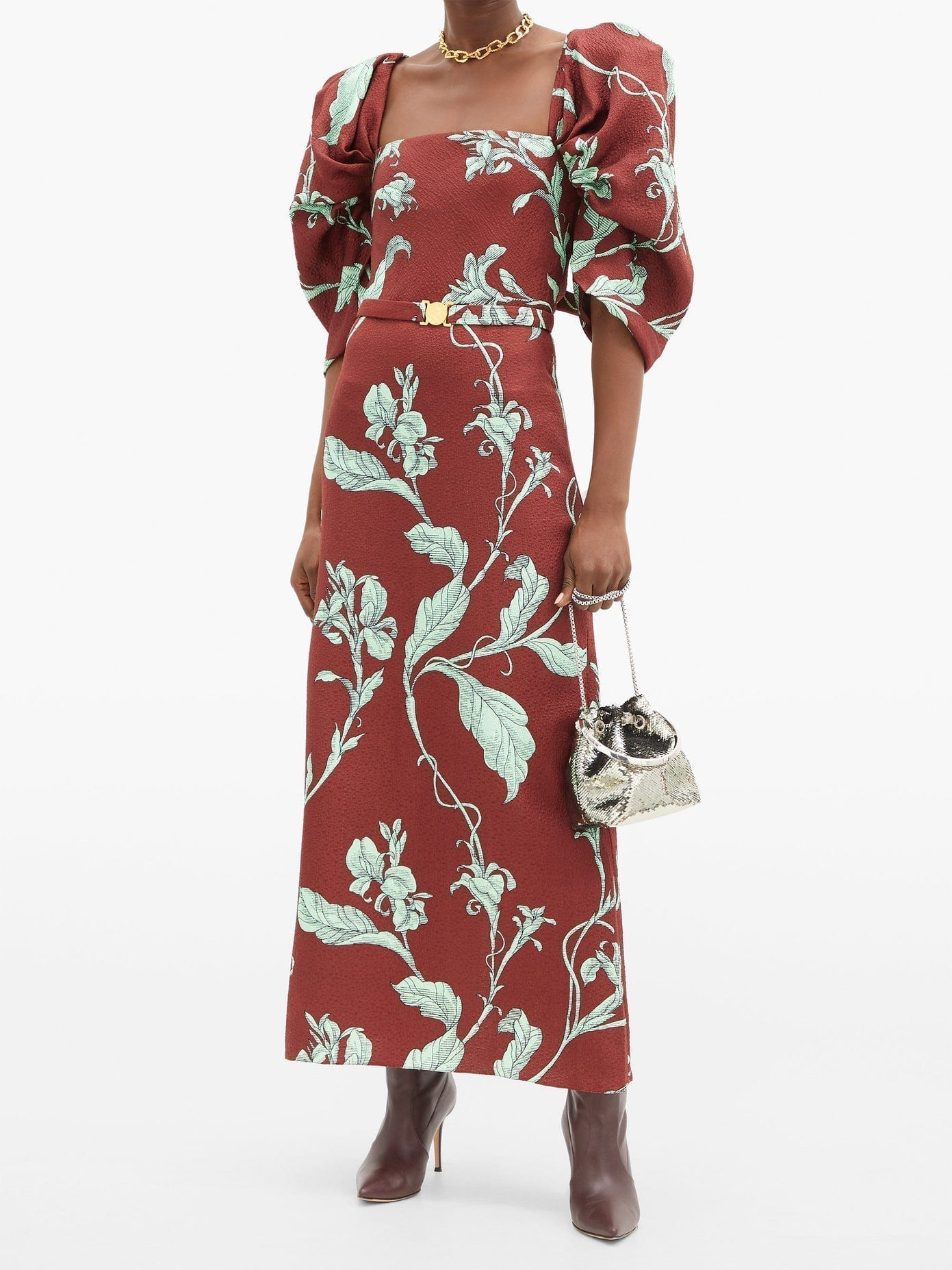 JOHANNA ORTIZ Rayo De Esperanza Belted Floral Jacquard Dress