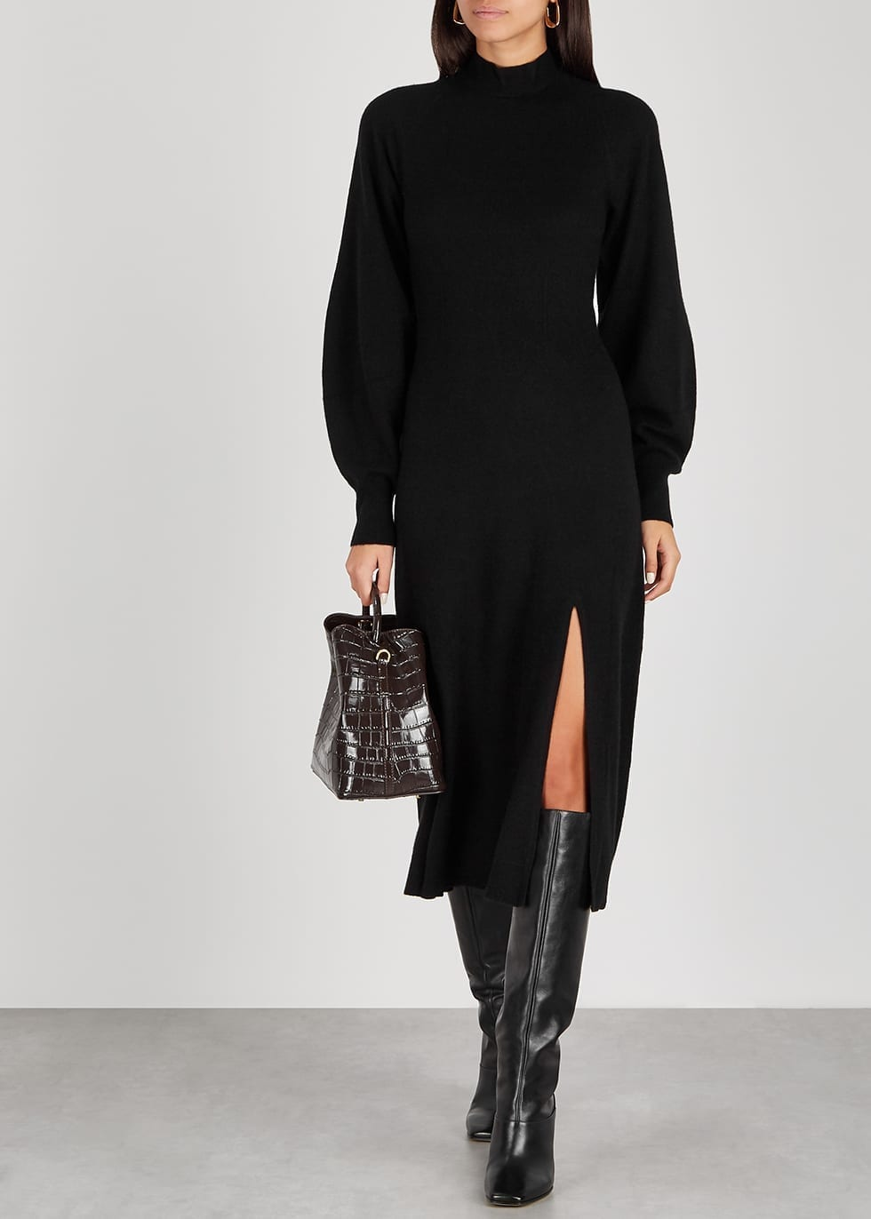 JONATHAN SIMKHAI Brielle Black Cashmere Midi Dress
