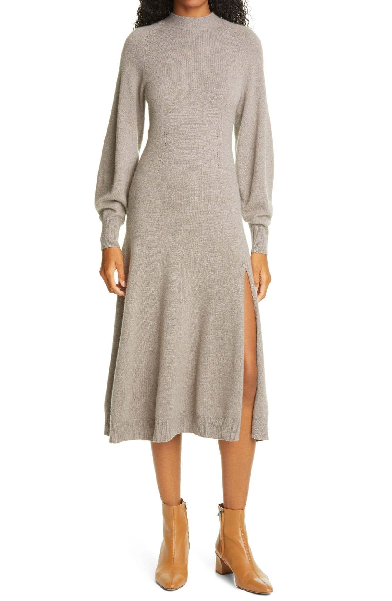 JONATHAN SIMKHAI Brielle Long Sleeve Cashmere Sweater Dress