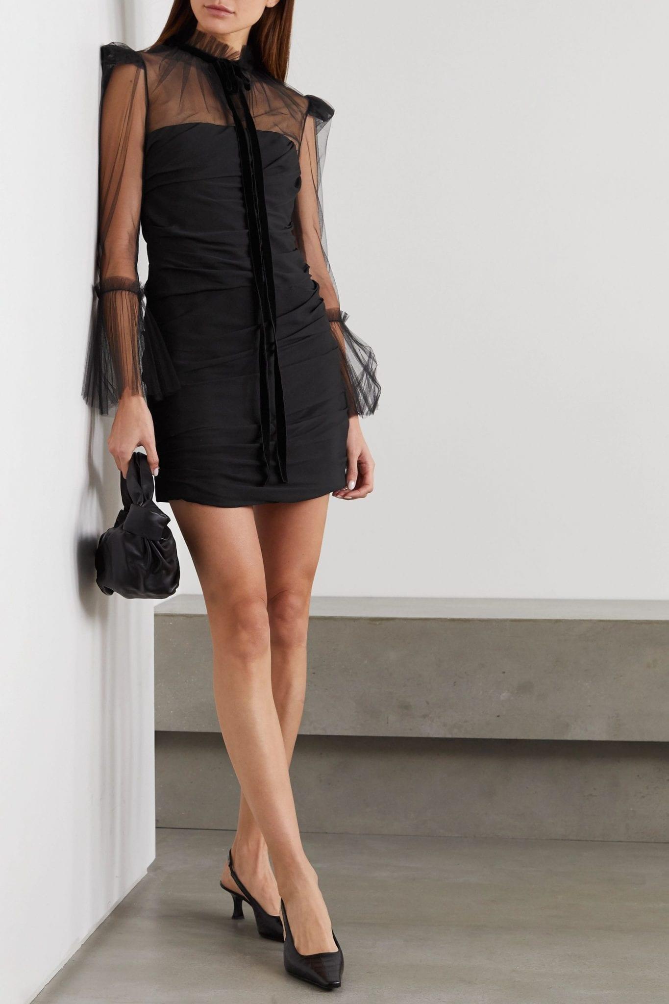 KHAITE Jonah Velvet-trimmed Ruched Silk-tulle Mini Dress