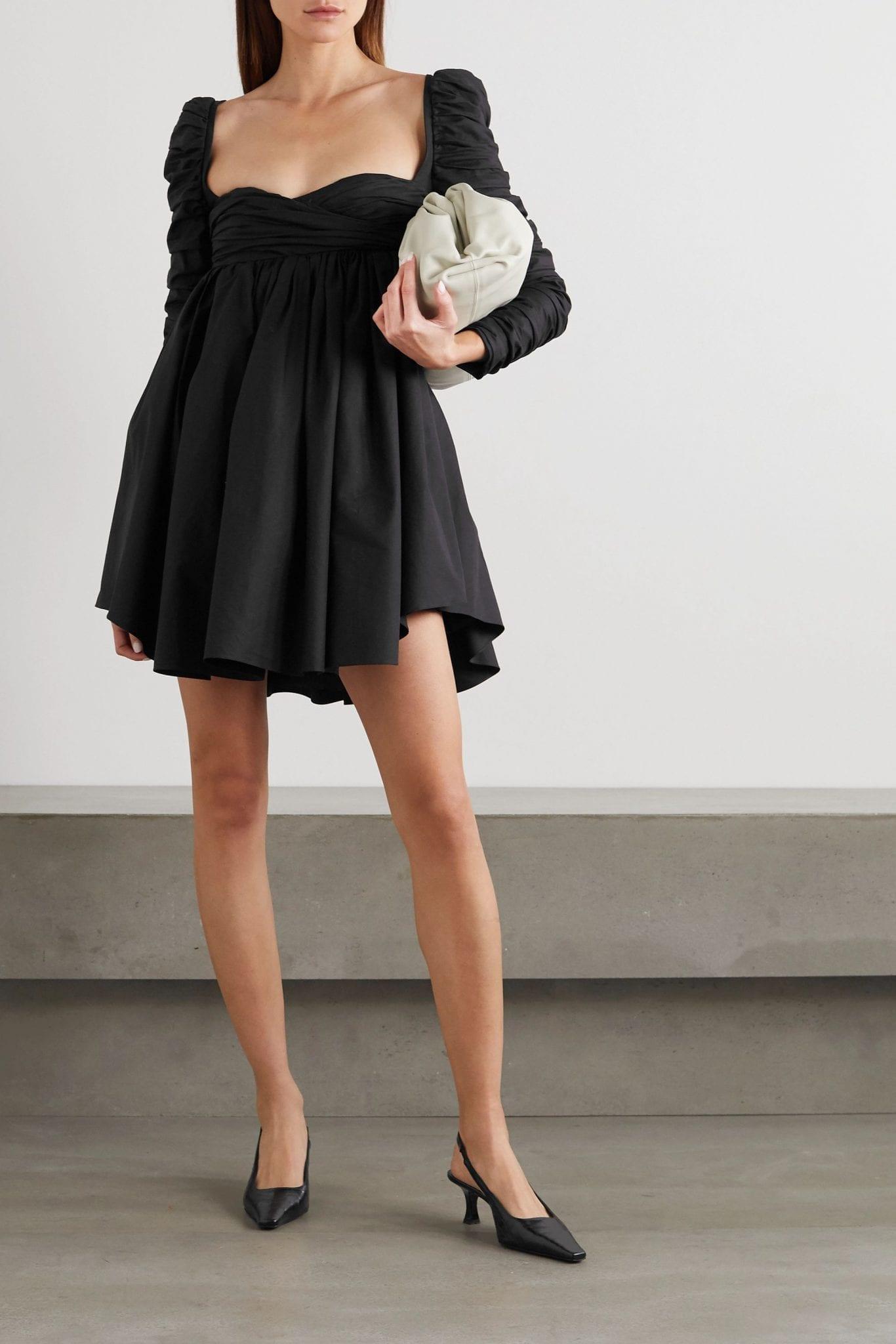 KHAITE Sueanne Ruched Cotton-twill Mini Dress
