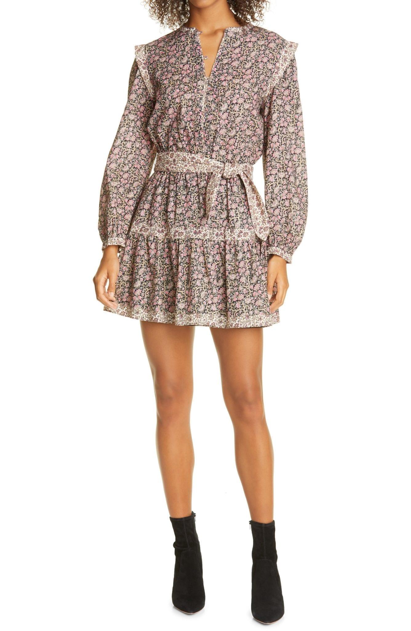 LA VIE REBECCA TAYLOR Floral Mix Belted Long Sleeve Mini Dress