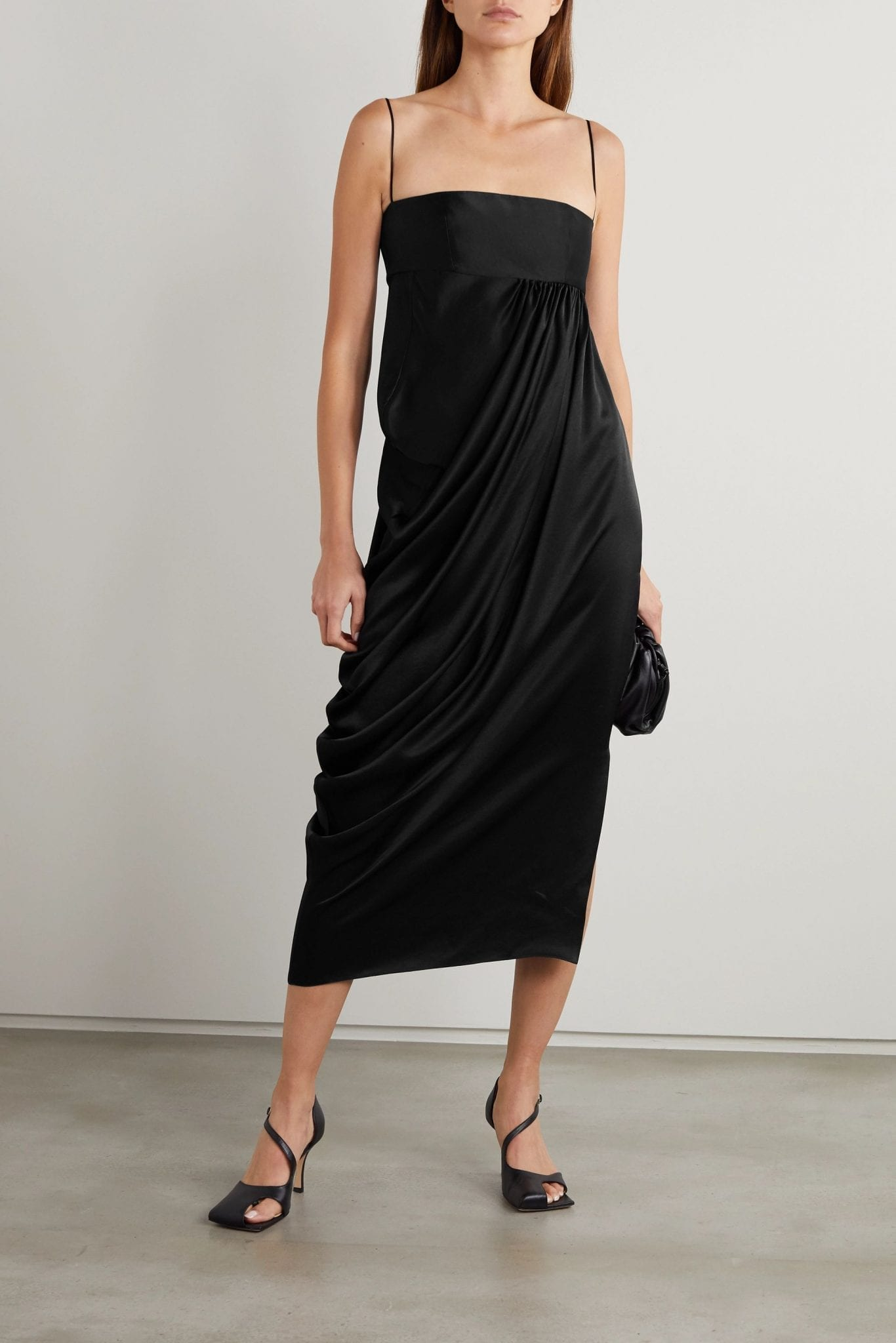 LADO BOKUCHAVA Draped Satin Midi Dress