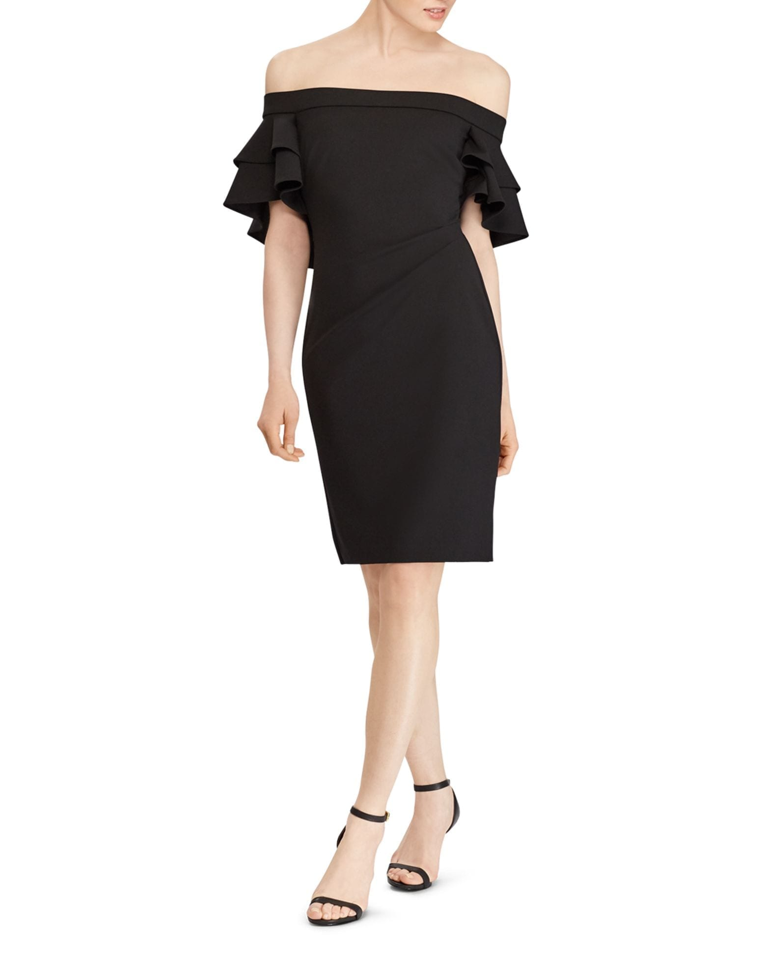 LAUREN RALPH LAUREN Ruffled Off-the-Shoulder Crepe Dress