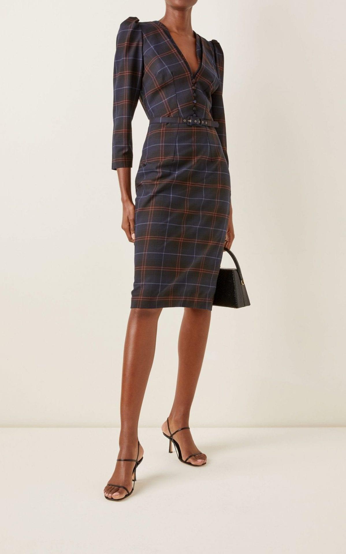 LENA HOSCHEK Kate Checked Wool-Blend Midi Dress