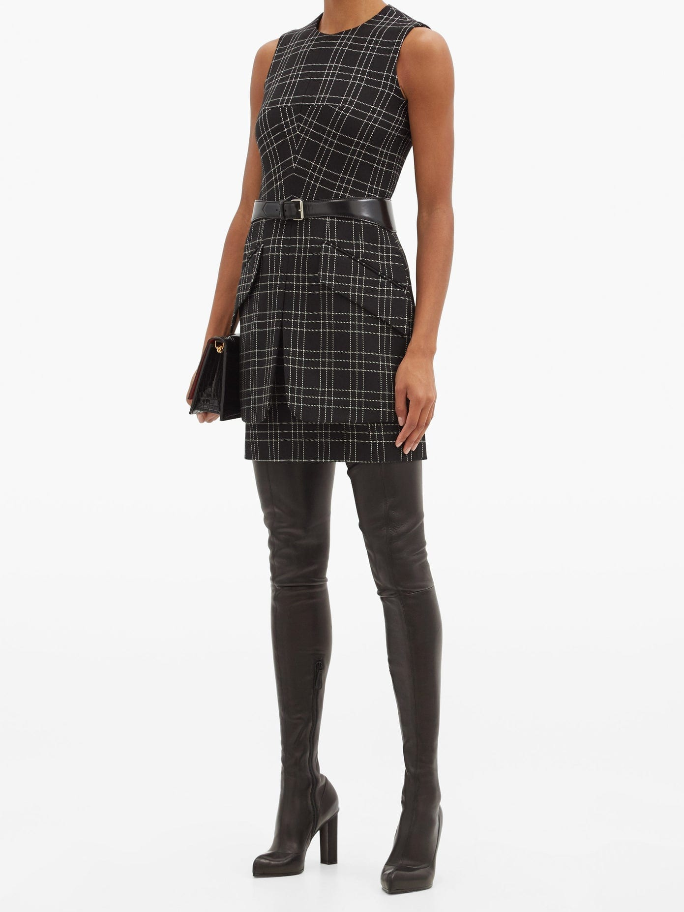 LEXANDER MCQUEEN Checked Virgin-wool Mini Dress
