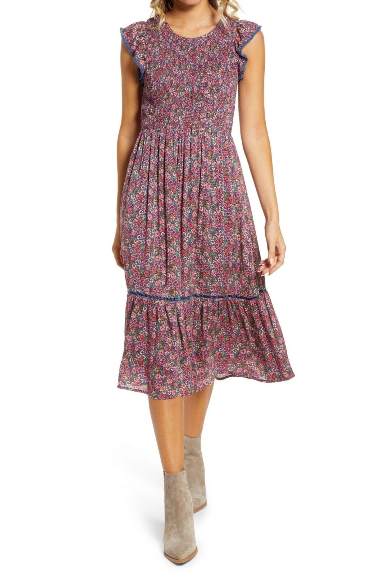 LOST + WANDER Orchid Print Smocked Midi Dress