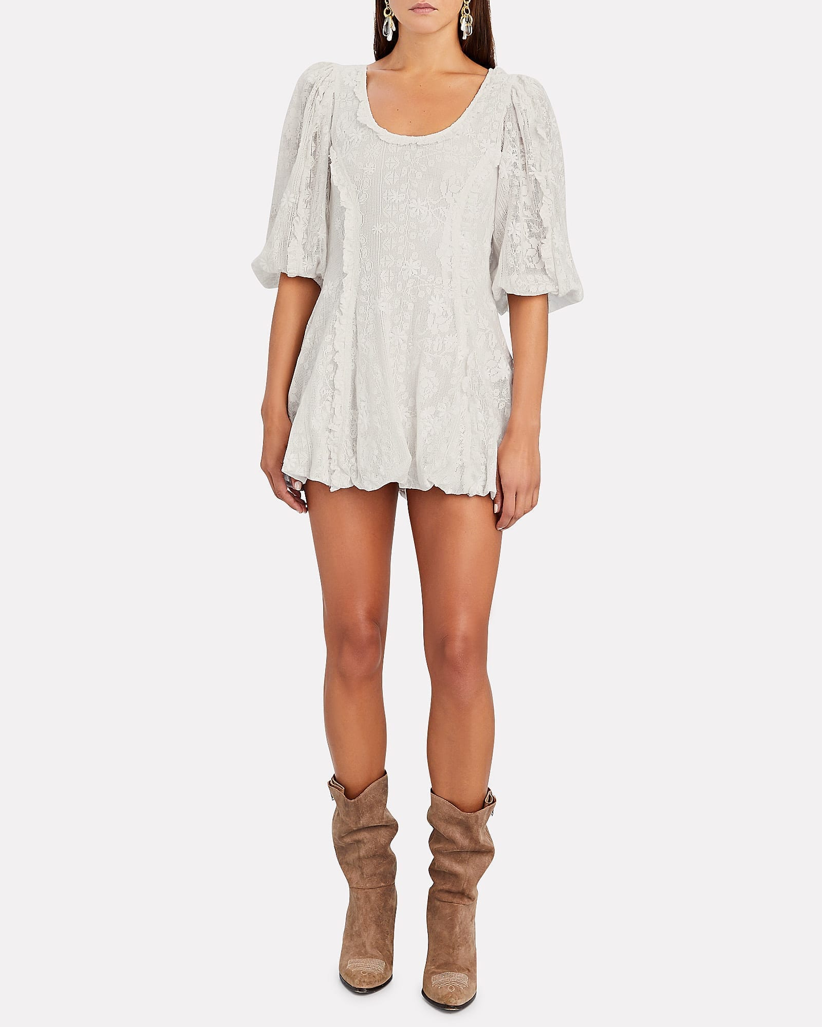 LOVESHACKFANCY Hampton Puff Sleeve MIni Dress
