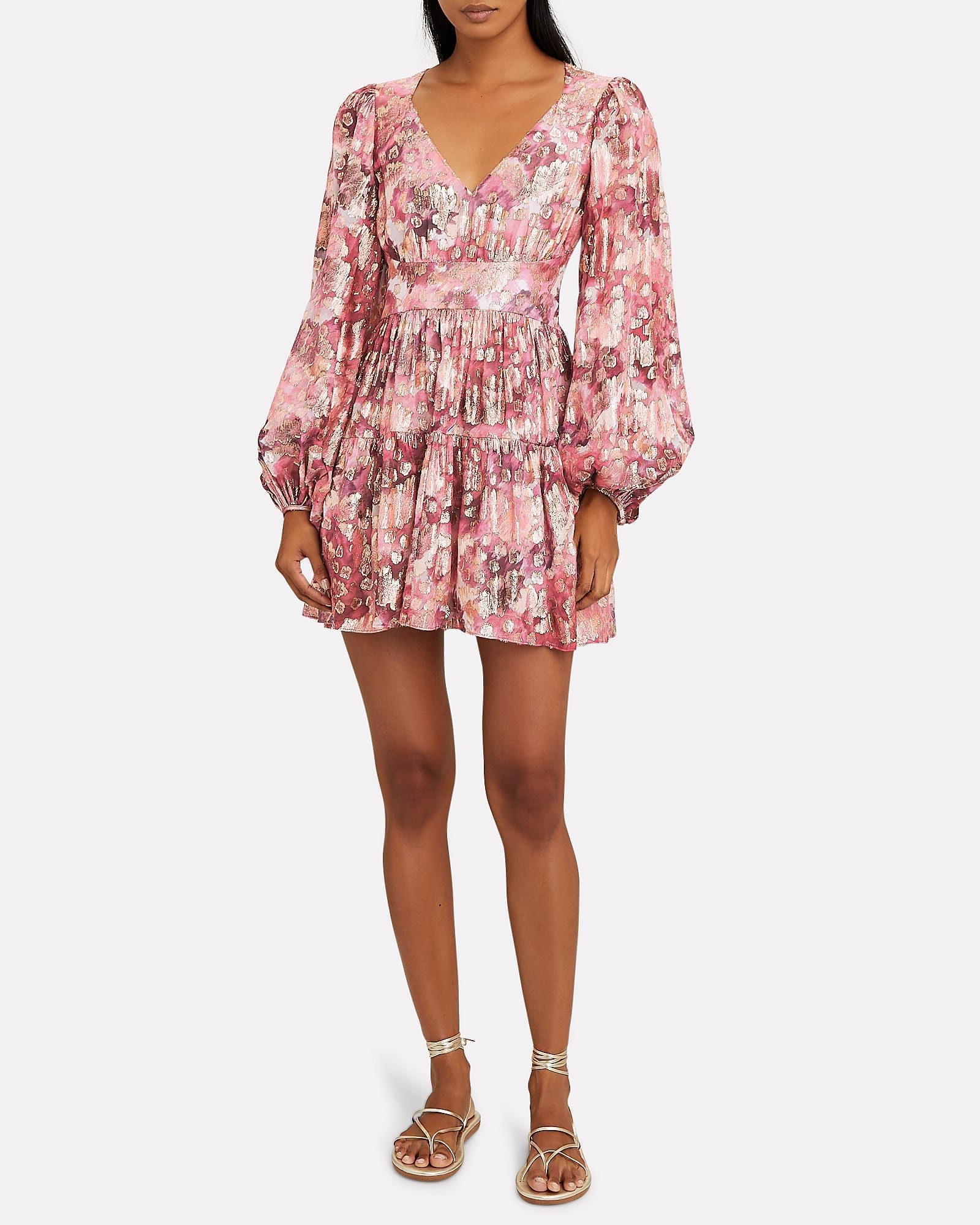 LOVESHACKFANCY Willis Floral Devoré Mini Dress
