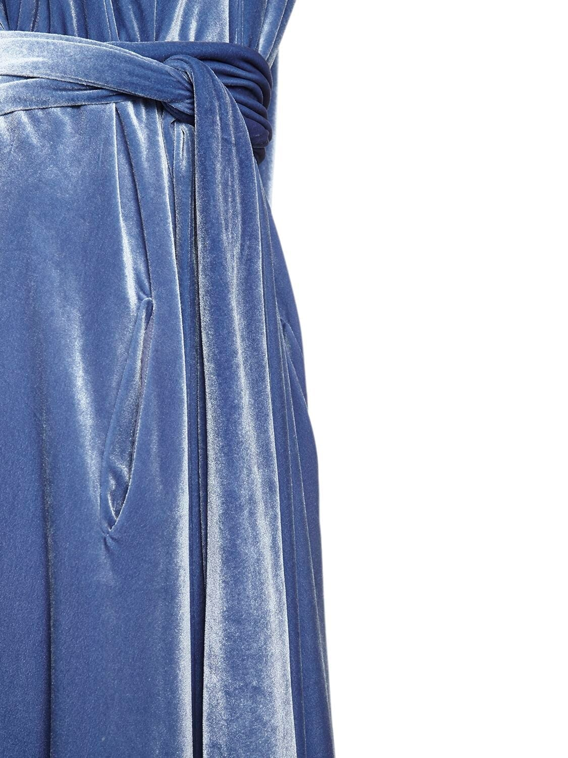 LUISA BECCARIA V Neck Velvet Belted Midi Dress