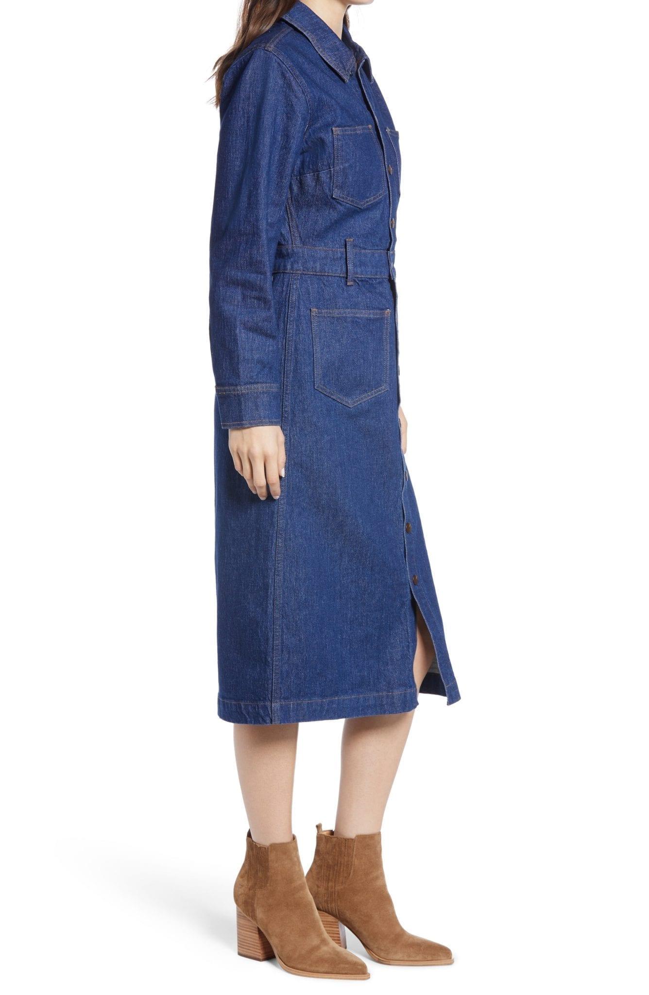 MADEWELL Denim Snap Front Midi Shirt Dress