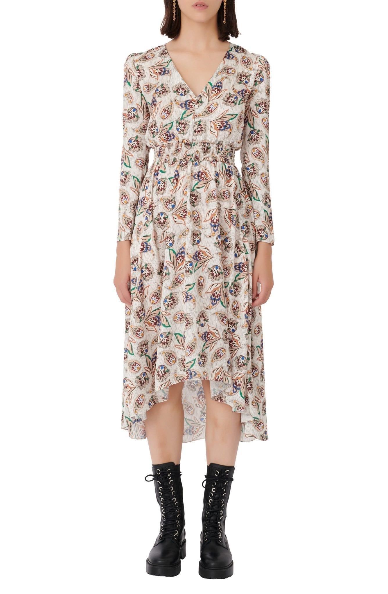 MAJE Paisley Spot Long Sleeve Satin High Low Dress
